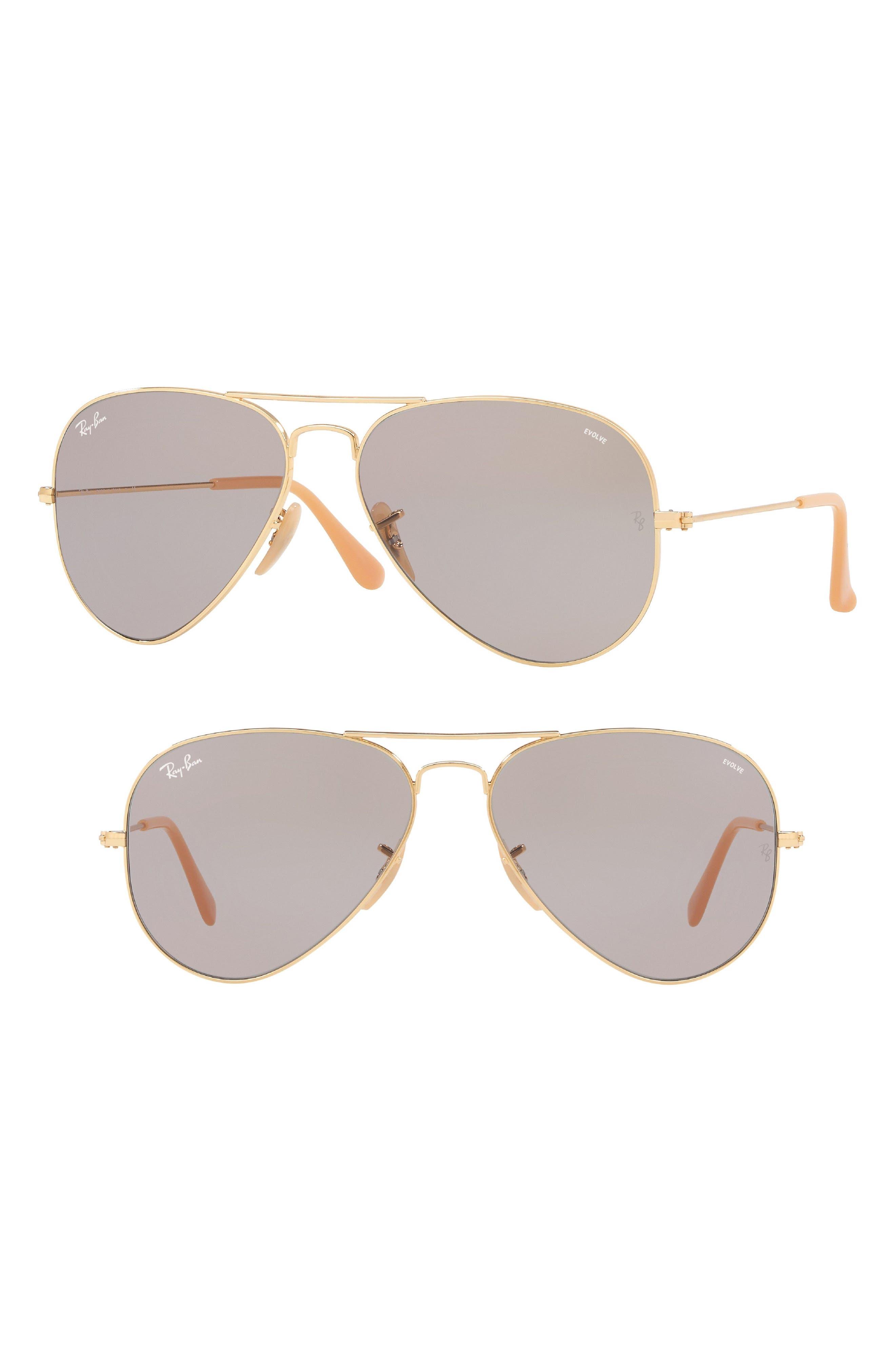 Ray-Ban 58mm Polarized Photochromic Aviator Sunglasses