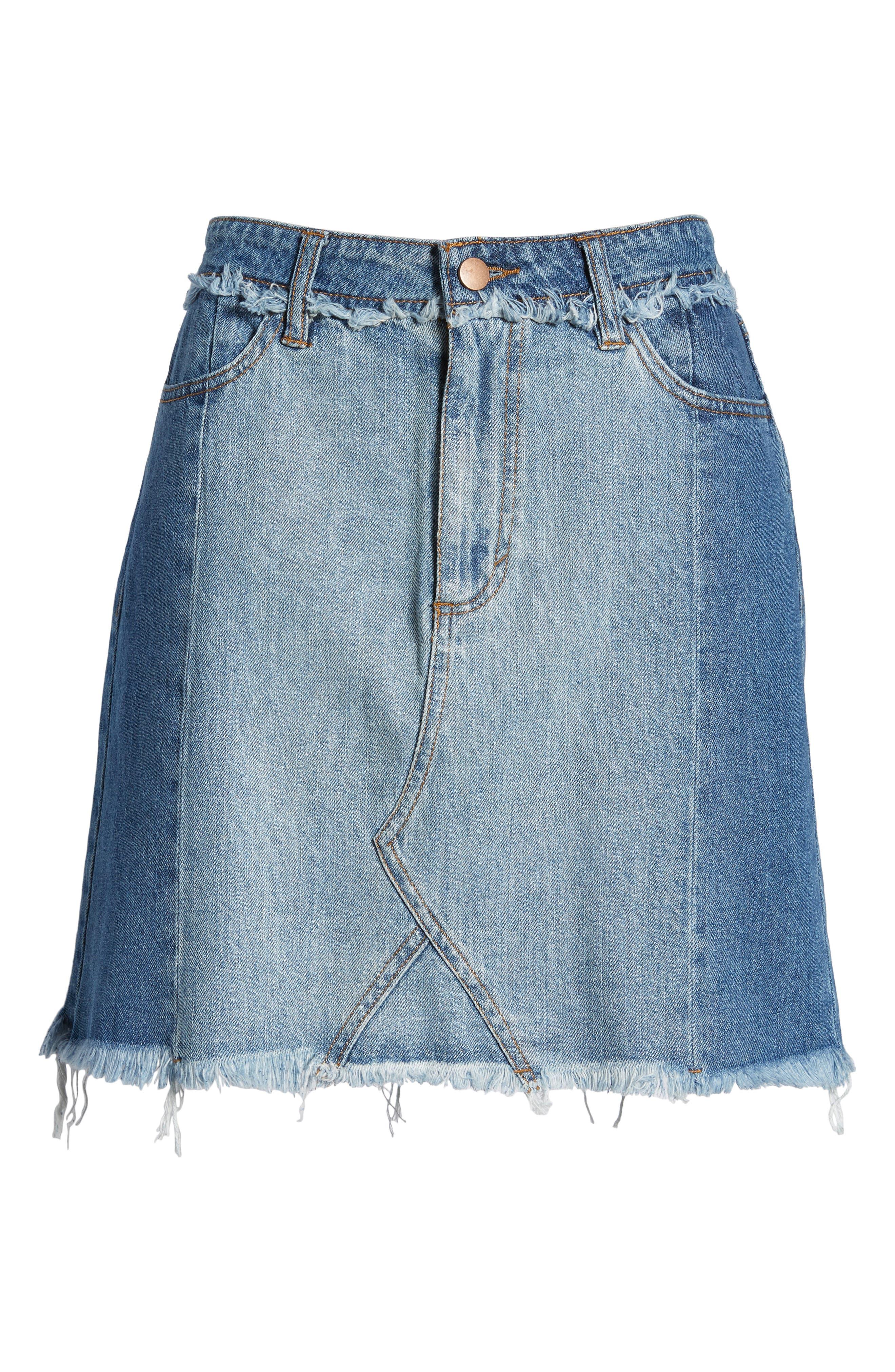 Color Block Denim Skirt,                             Alternate thumbnail 7, color,                             Med Wash