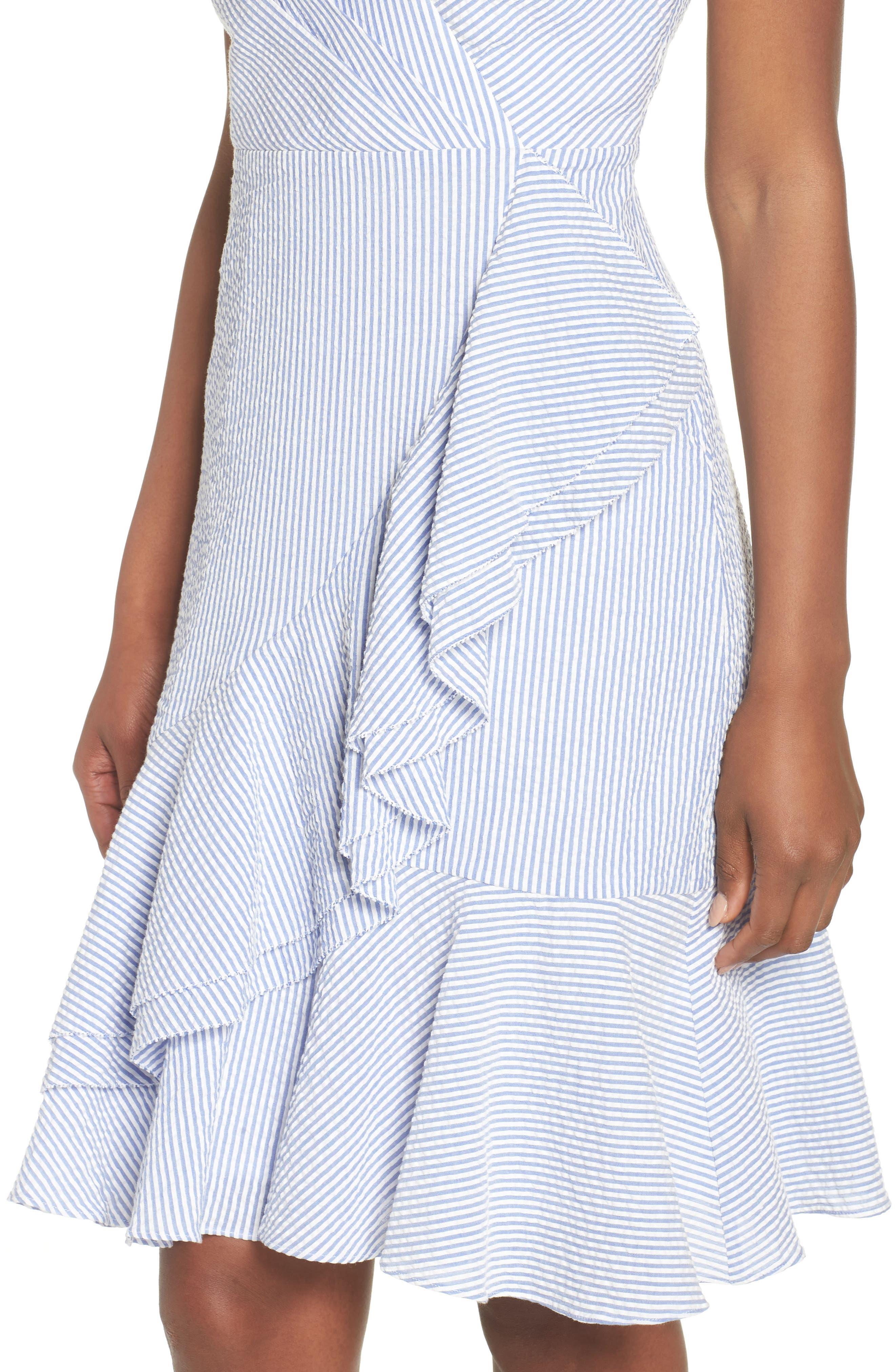 J.Crew Spaghetti Strap Ruffle Dress,                             Alternate thumbnail 4, color,                             Blue White