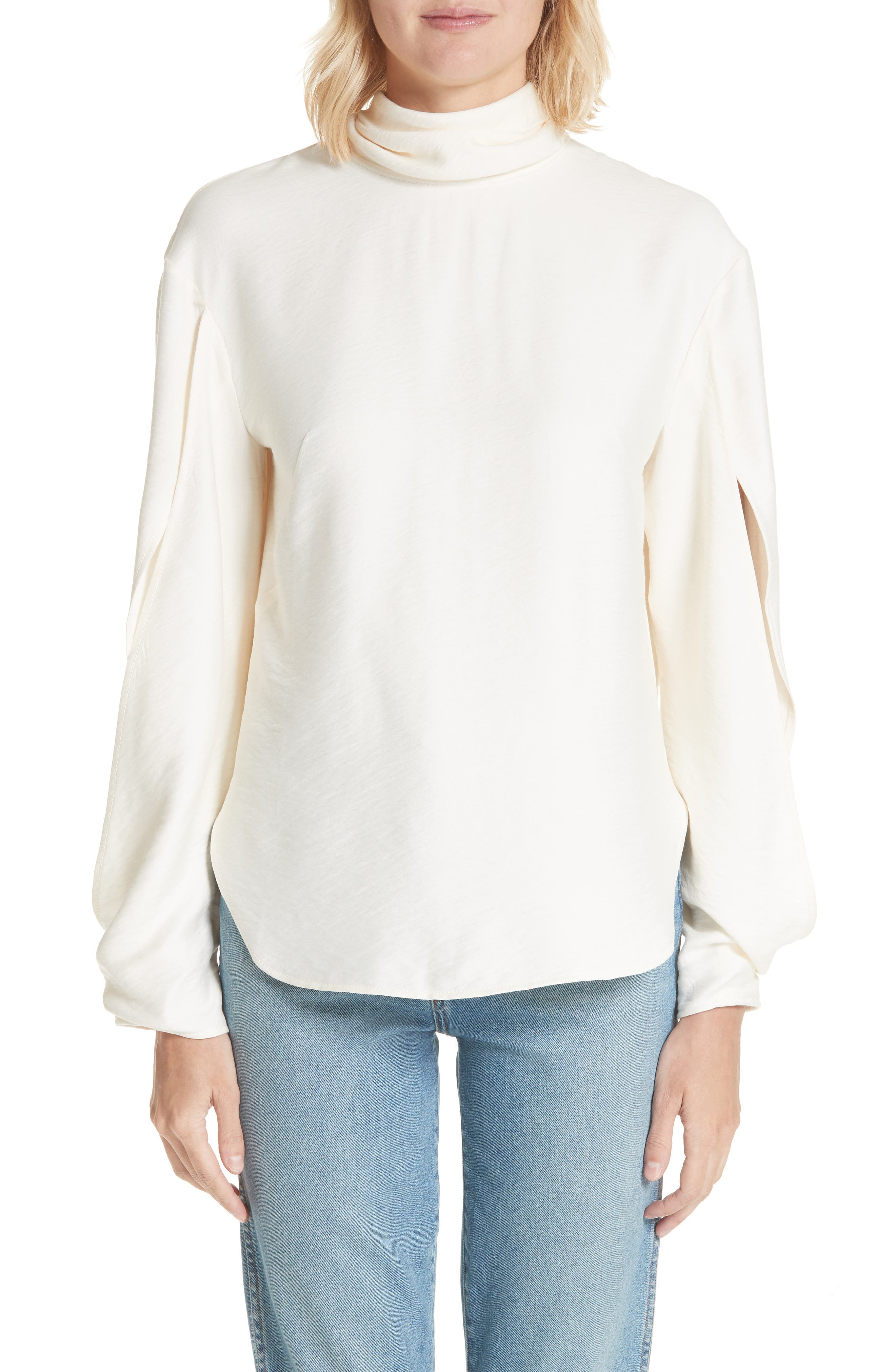 Jessie High Neck Blouse,                             Main thumbnail 1, color,                             Rayon Ivory