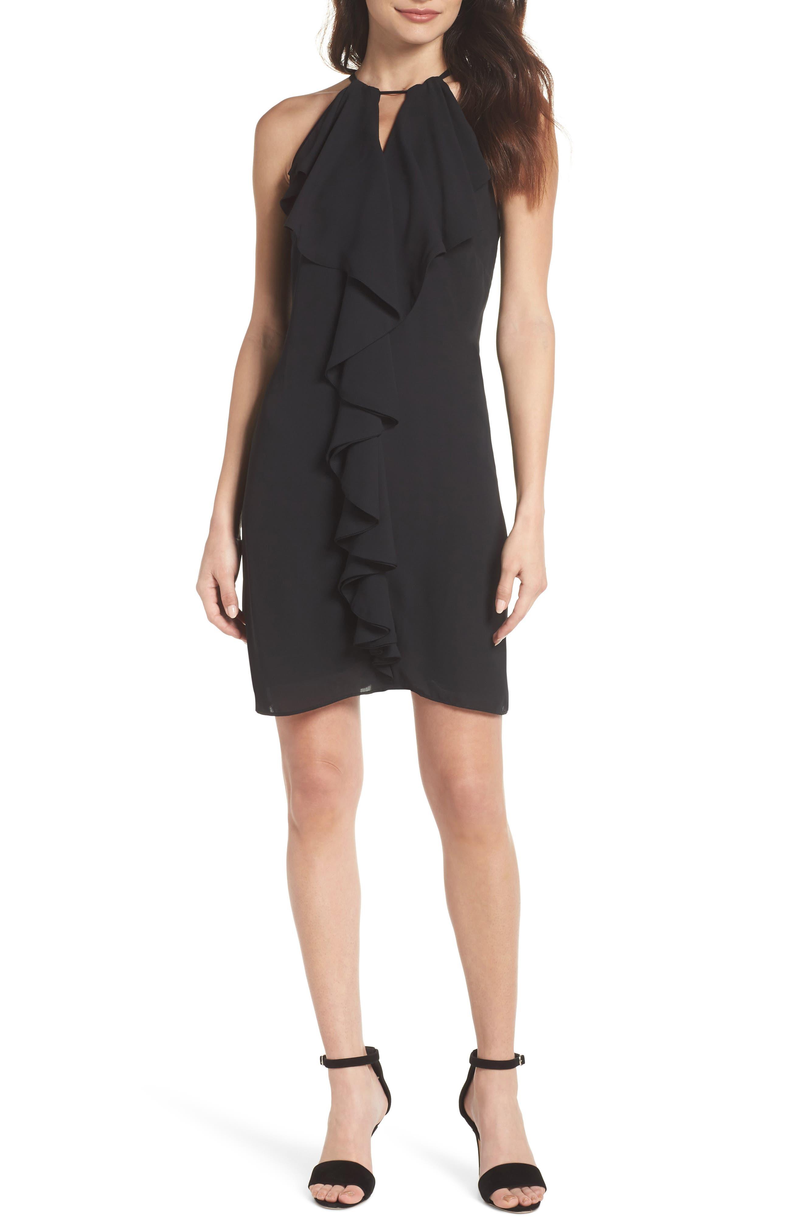 Ruffle Halter Dress,                         Main,                         color, Black