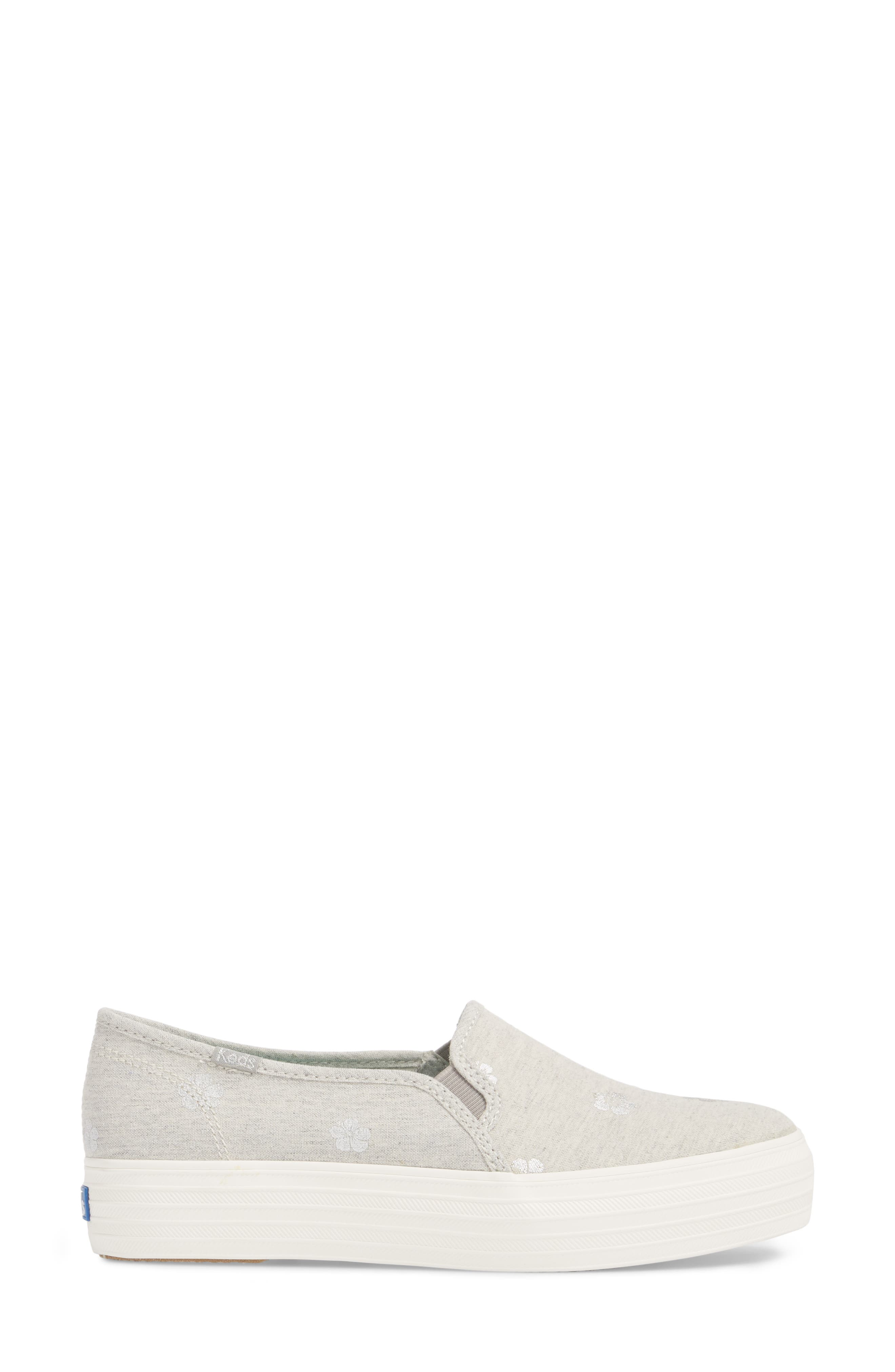 Triple Decker Hibiscus Slip-On Platform Sneaker,                             Alternate thumbnail 3, color,                             Light Grey