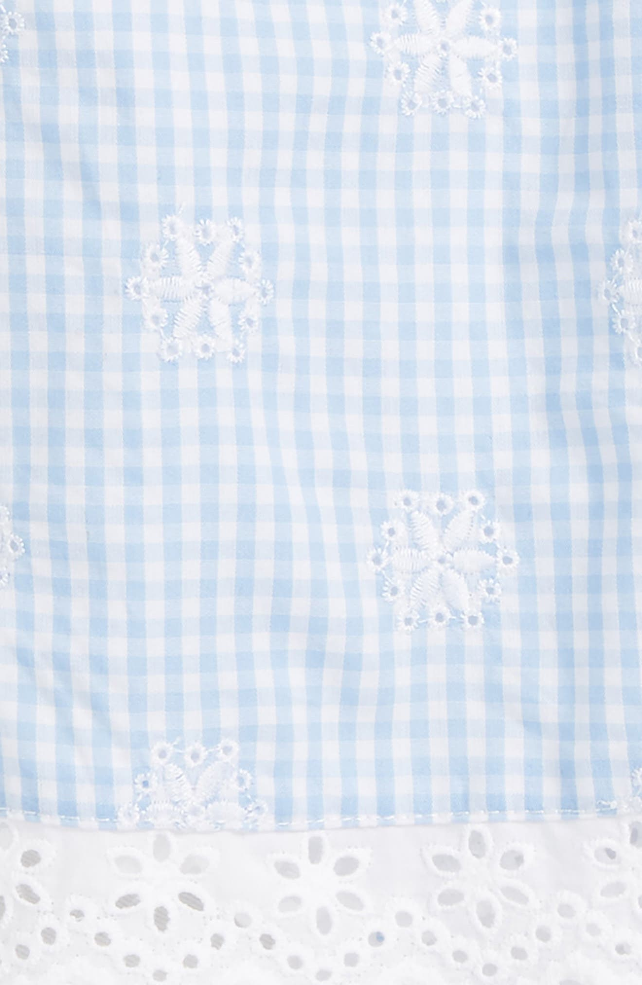 Gingham Eyelet Woven Tunic, Leggings & Headband Set,                             Alternate thumbnail 2, color,                             White/ Blue