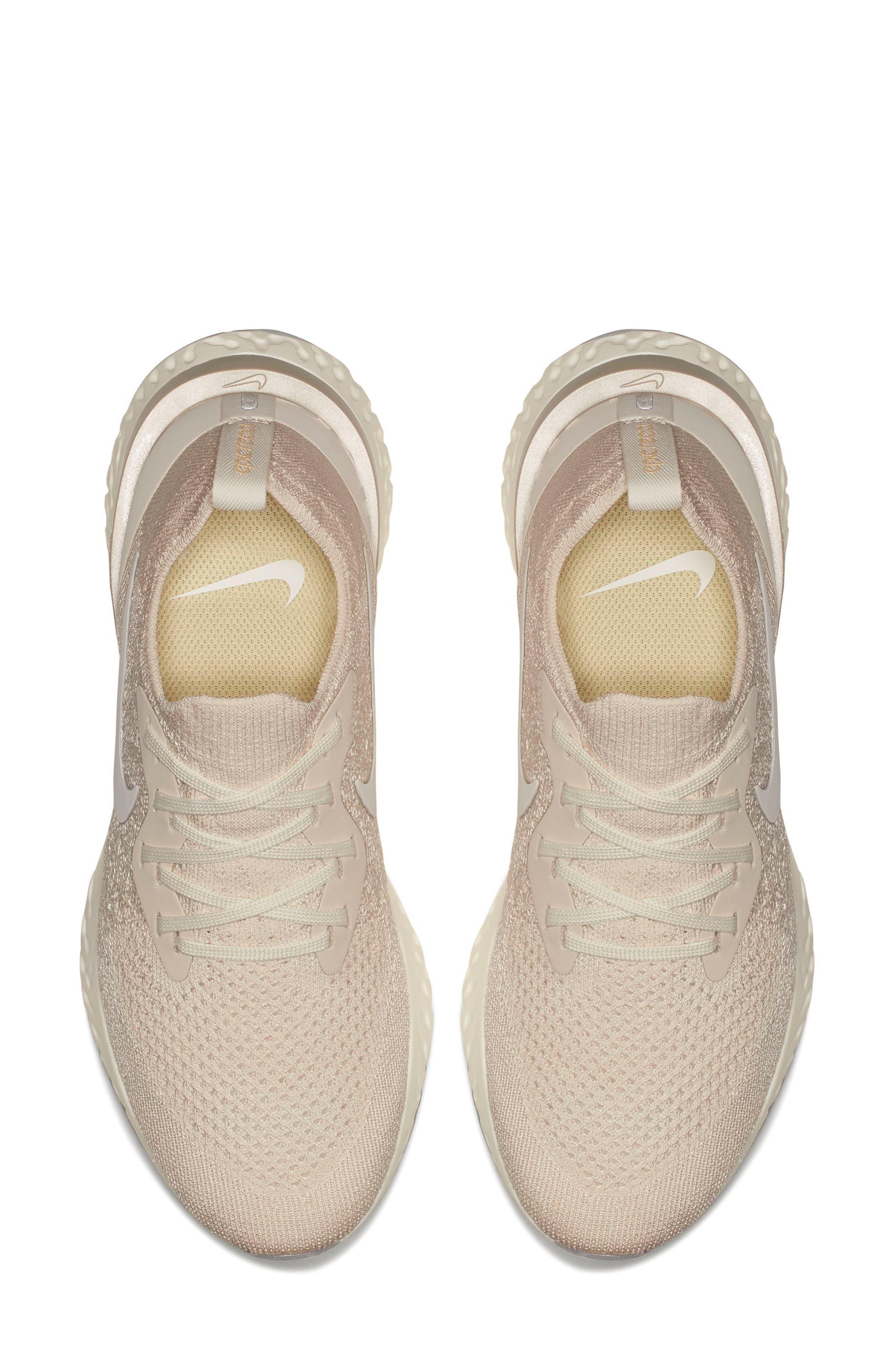 Epic React Flyknit Running Shoe,                             Alternate thumbnail 3, color,                             Light Cream/ Sail