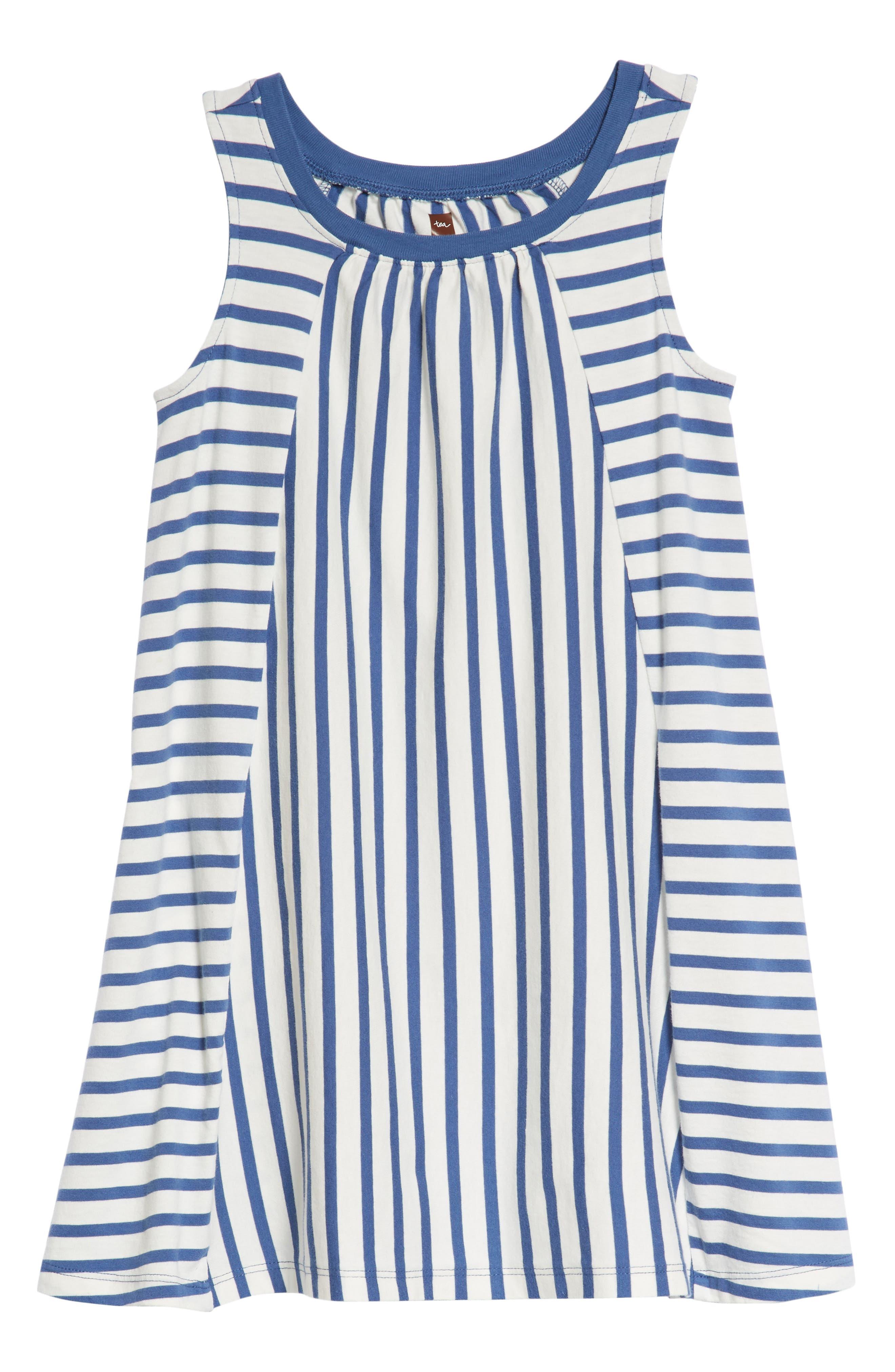 Stripe Trapeze Dress,                             Main thumbnail 1, color,                             Cobalt