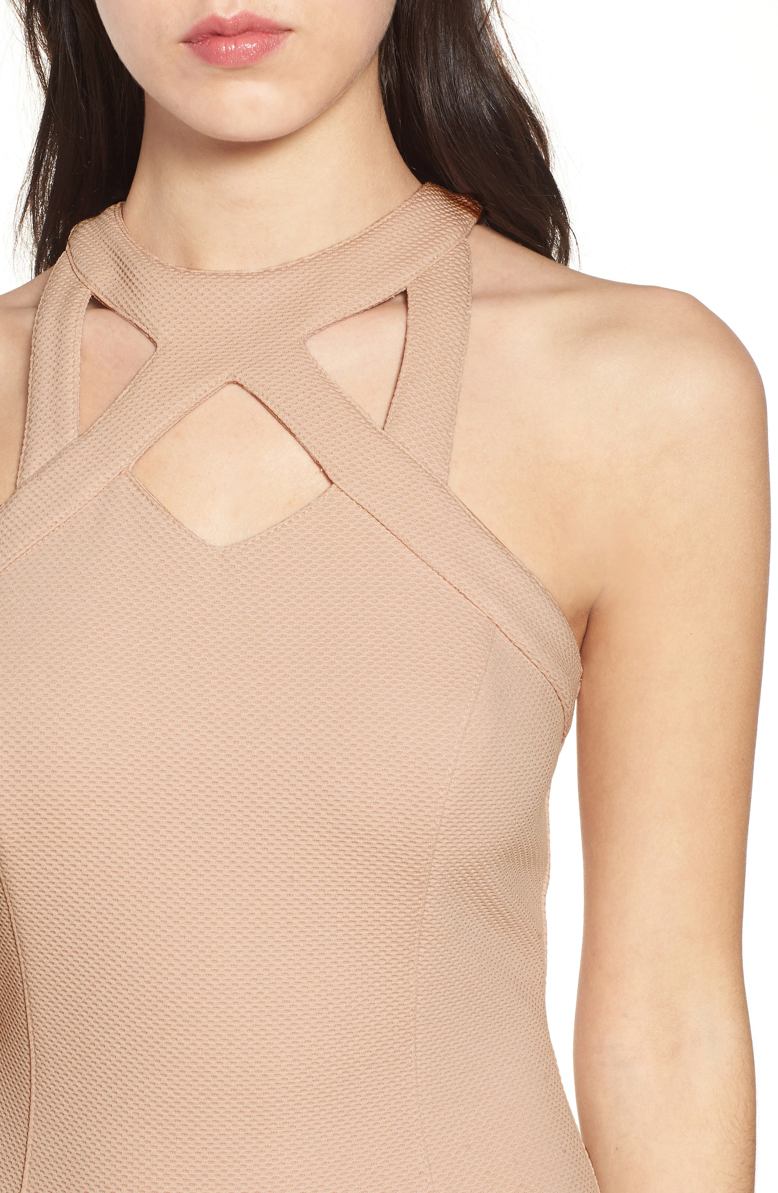 Piqué Body-Con Dress,                             Alternate thumbnail 4, color,                             Pale Pink