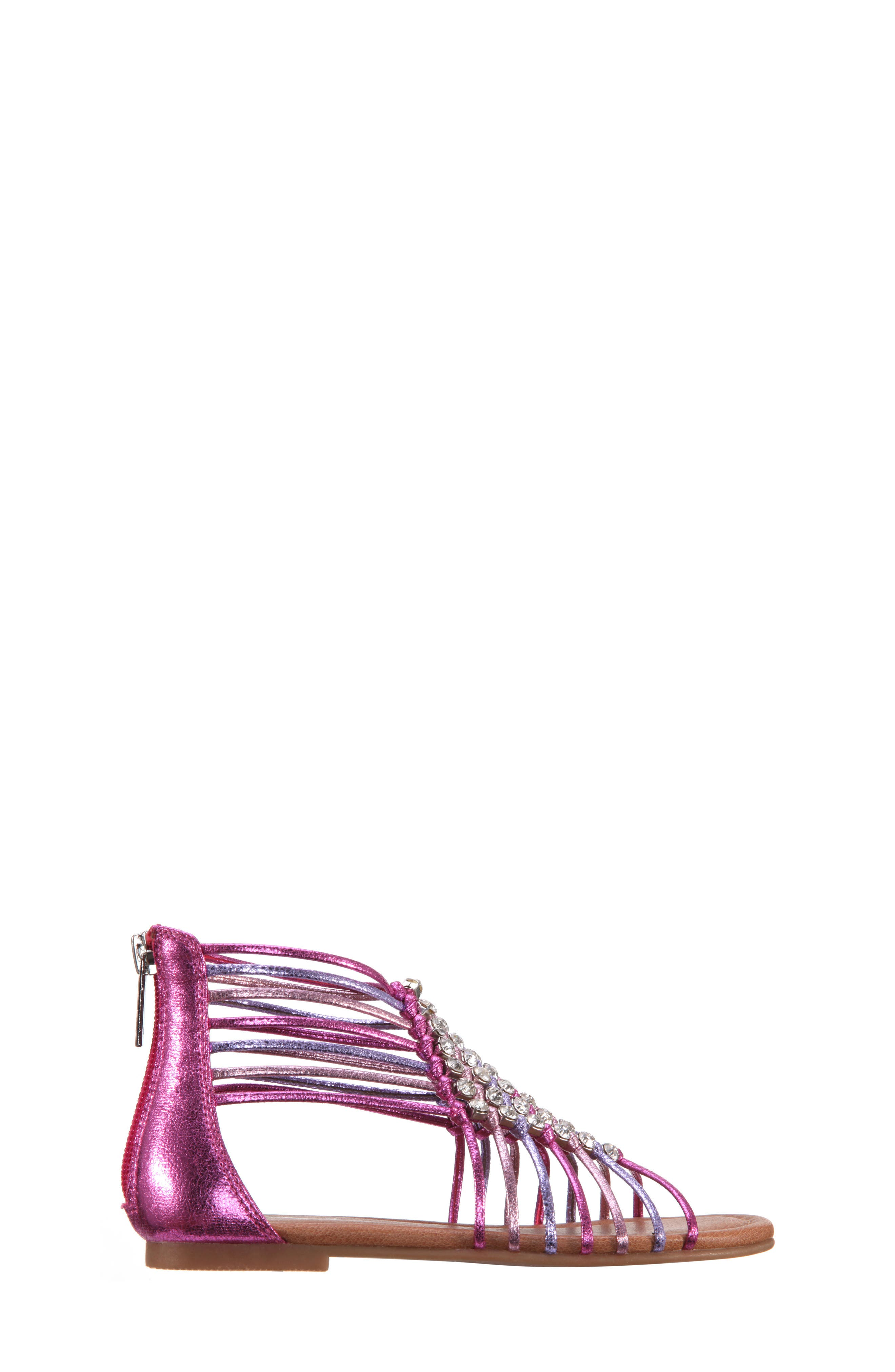 Karlee Embellished Sandal,                             Alternate thumbnail 3, color,                             Pink Multi Metallic Crackle