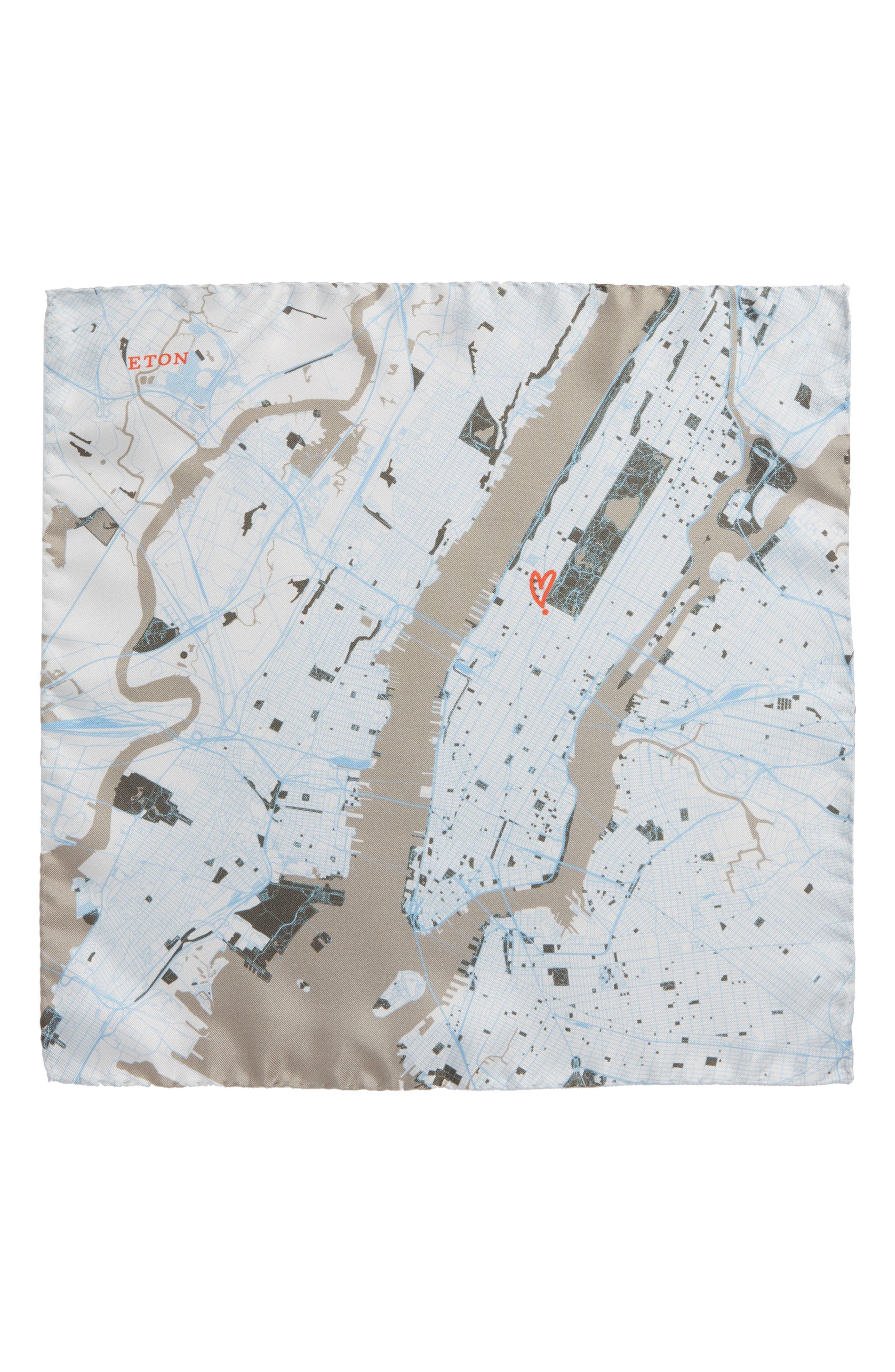 Subway Map Silk Pocket Square,                             Alternate thumbnail 2, color,                             Grey