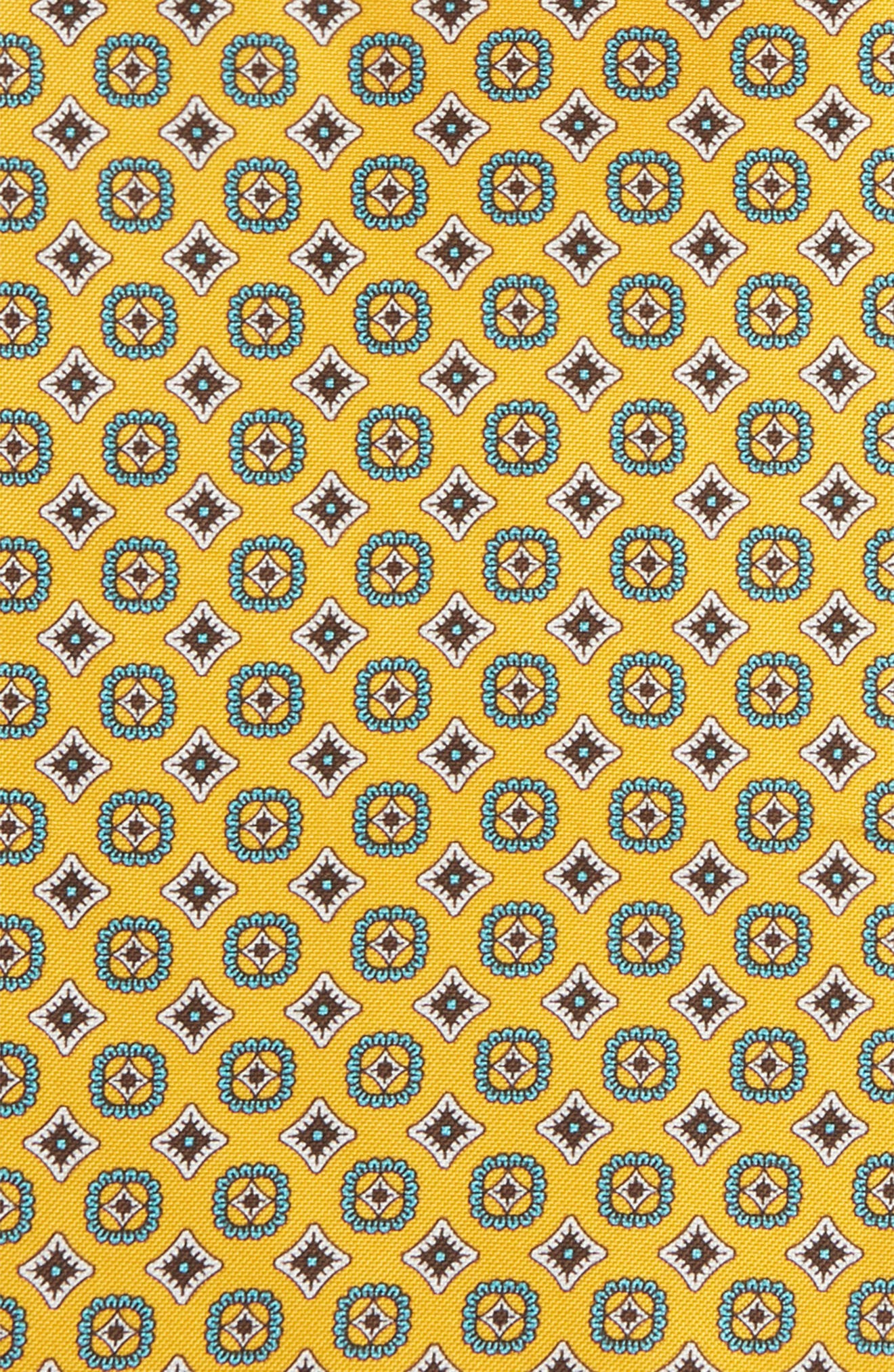 Medallion Silk Pocket Square,                             Alternate thumbnail 3, color,                             Yellow