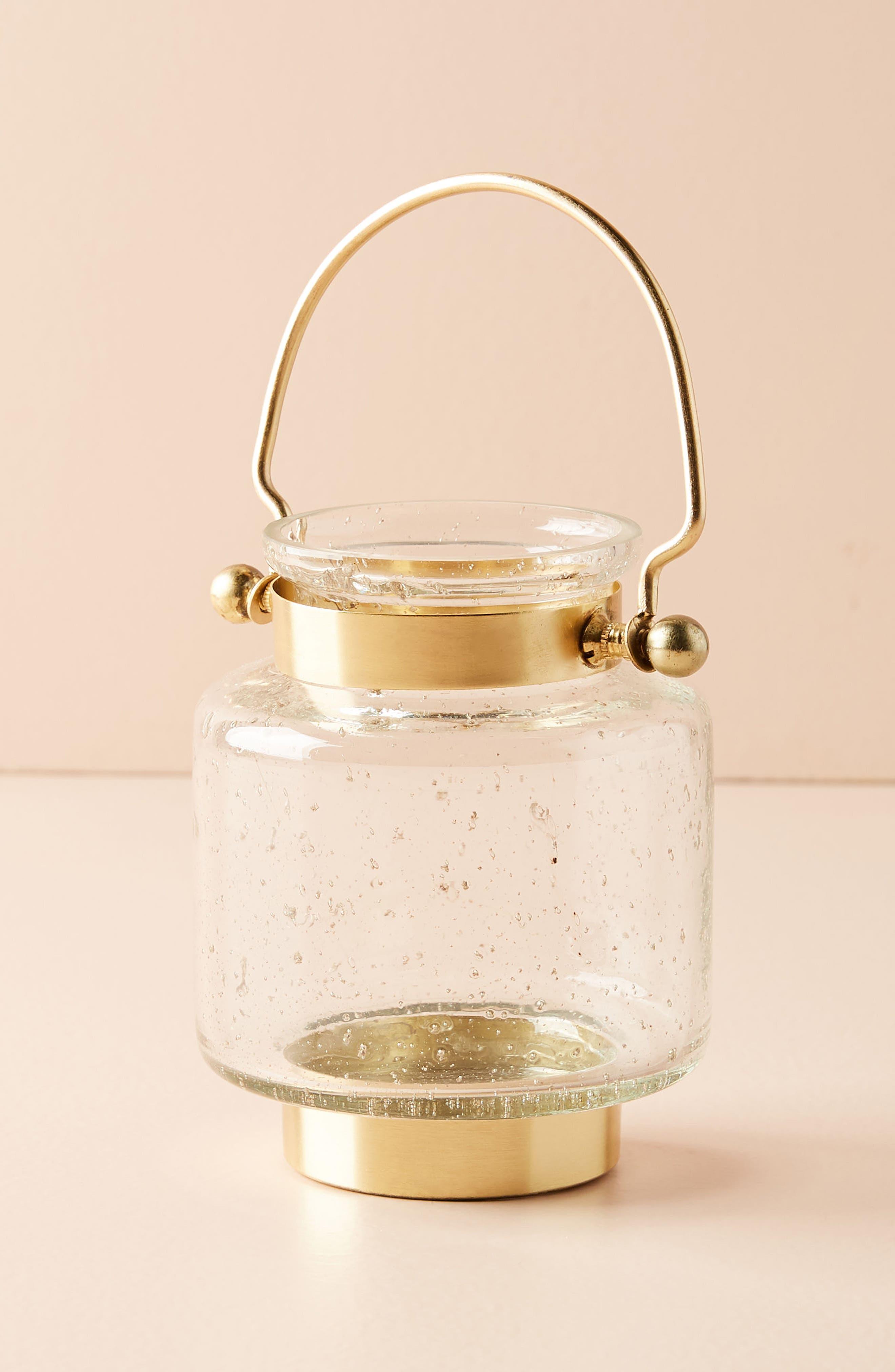 Gilded Lantern Votive Candleholder,                         Main,                         color, Gold