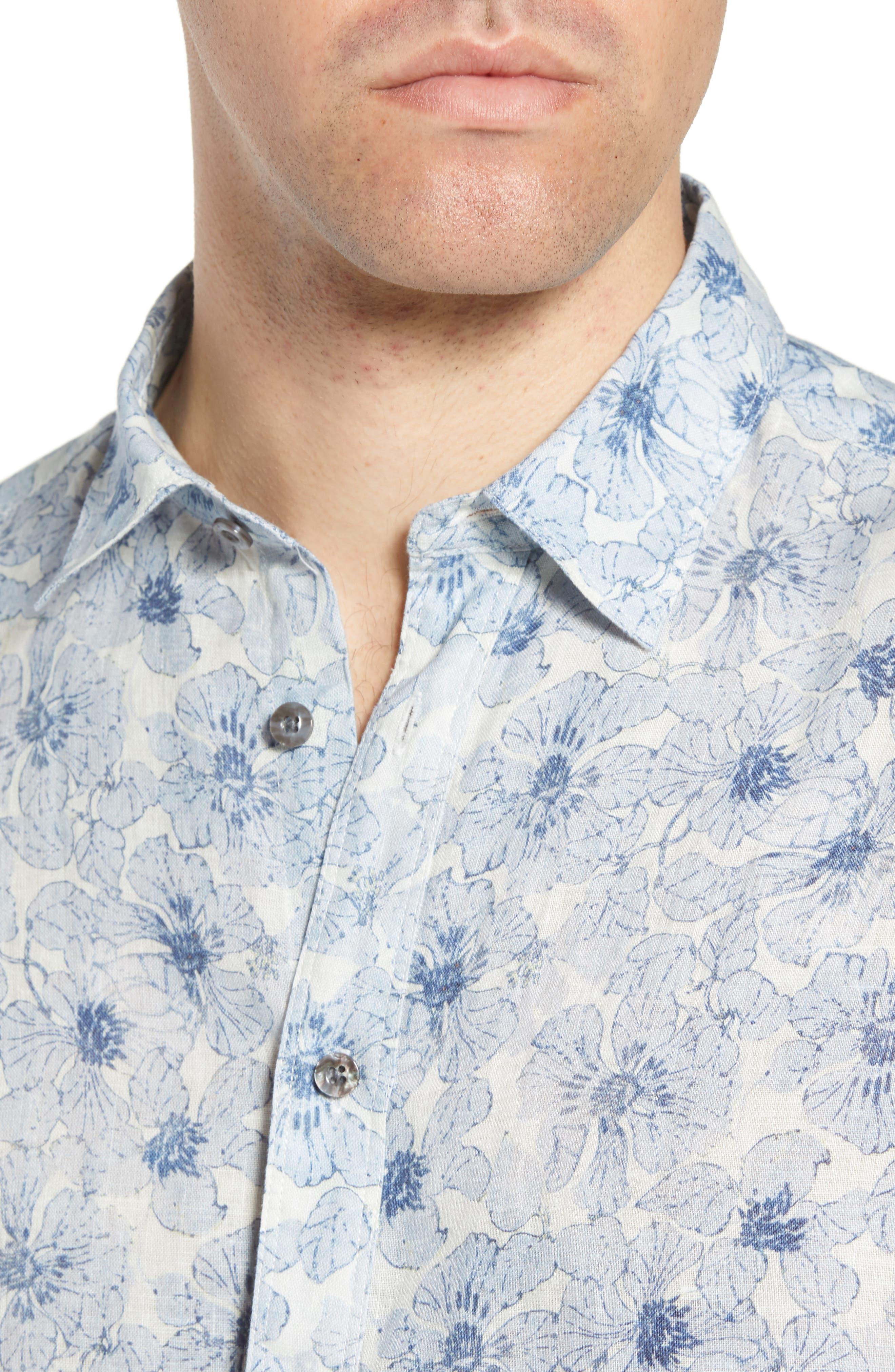 Tavton Regular Fit Floral Linen Sport Shirt,                             Alternate thumbnail 2, color,                             Sky