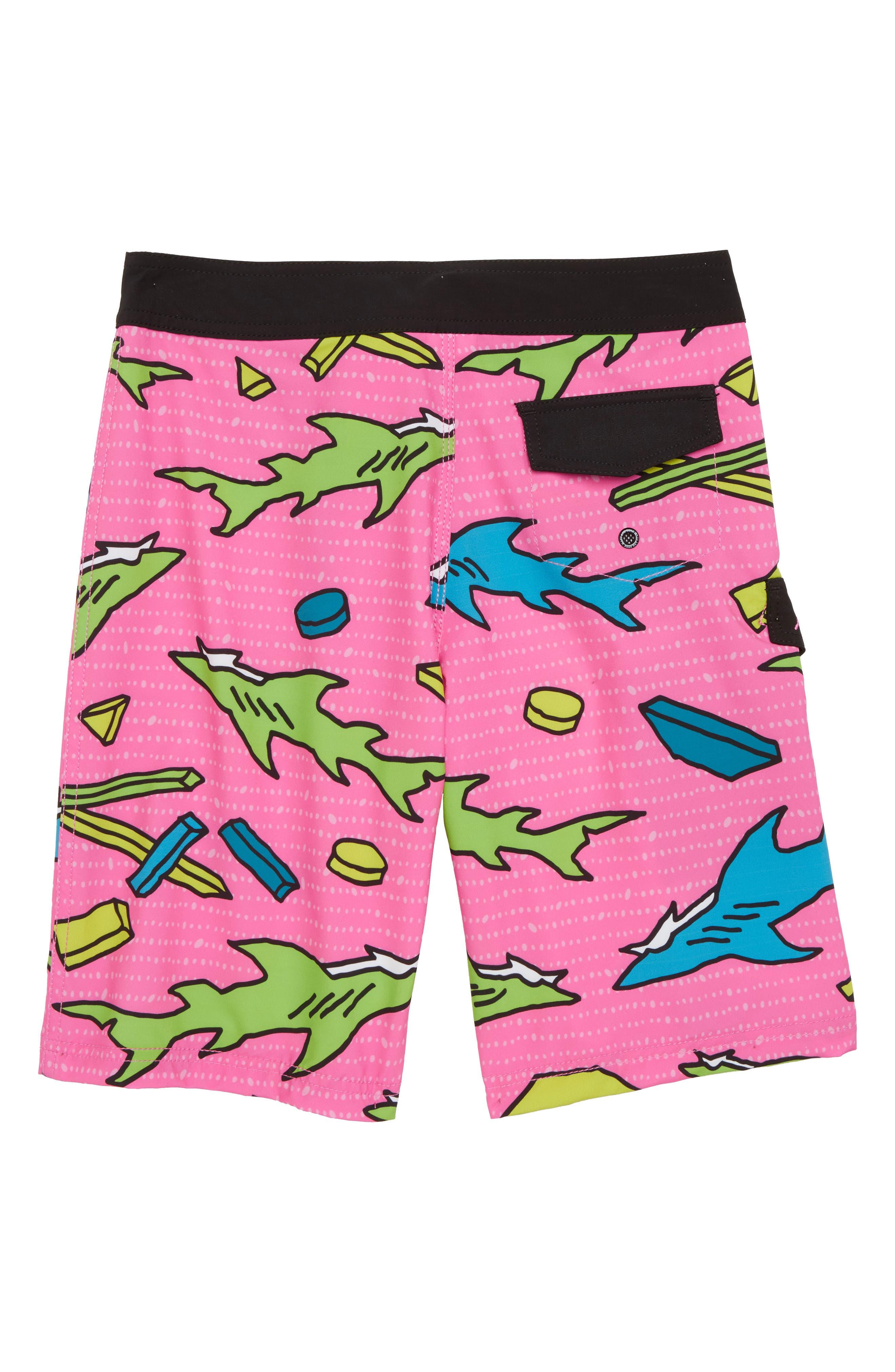Choppa Print Board Shorts,                             Alternate thumbnail 2, color,                             Pink