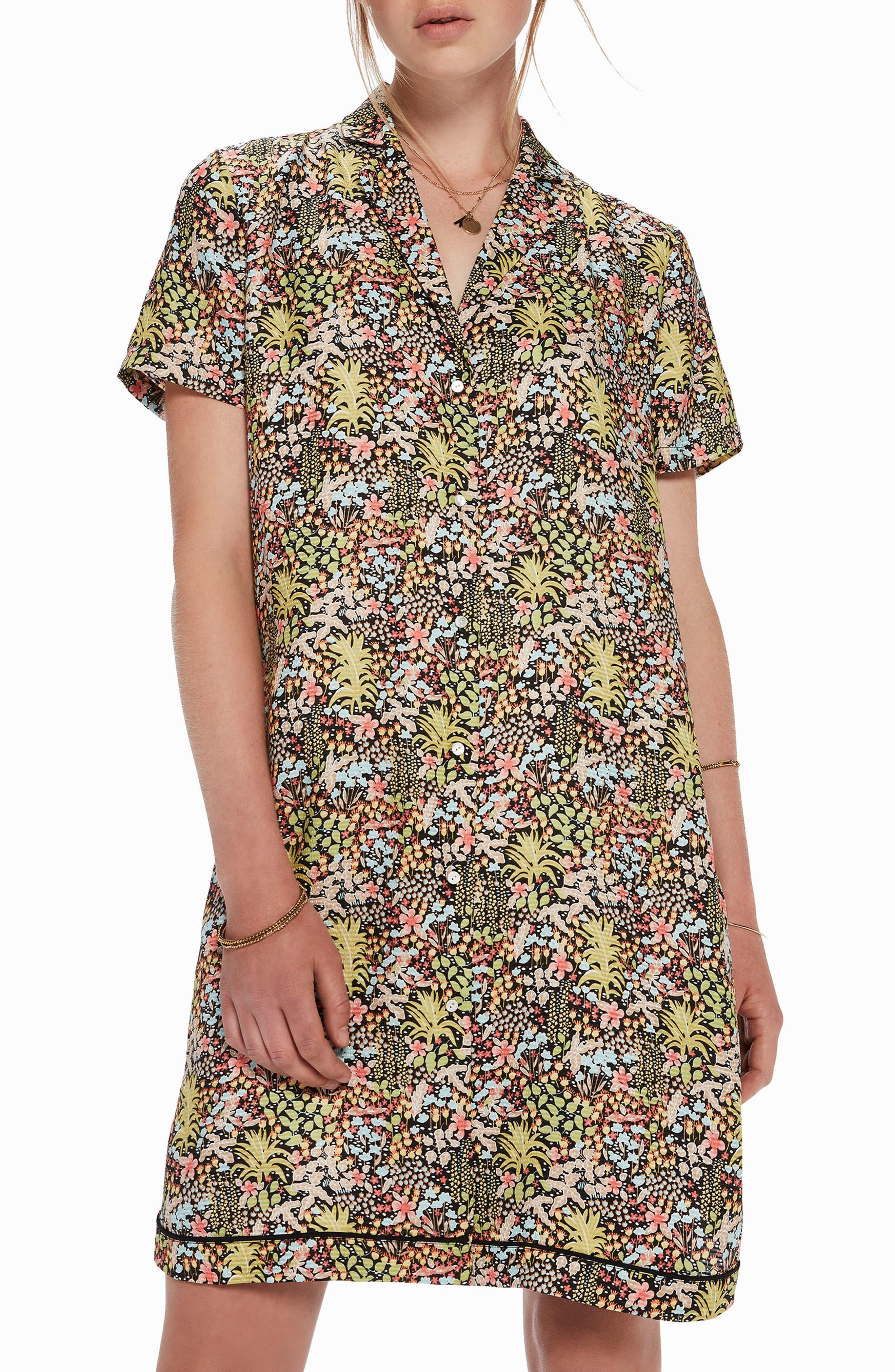 Tropical Print Shirtdress,                             Alternate thumbnail 3, color,                             Color 17 Combo A