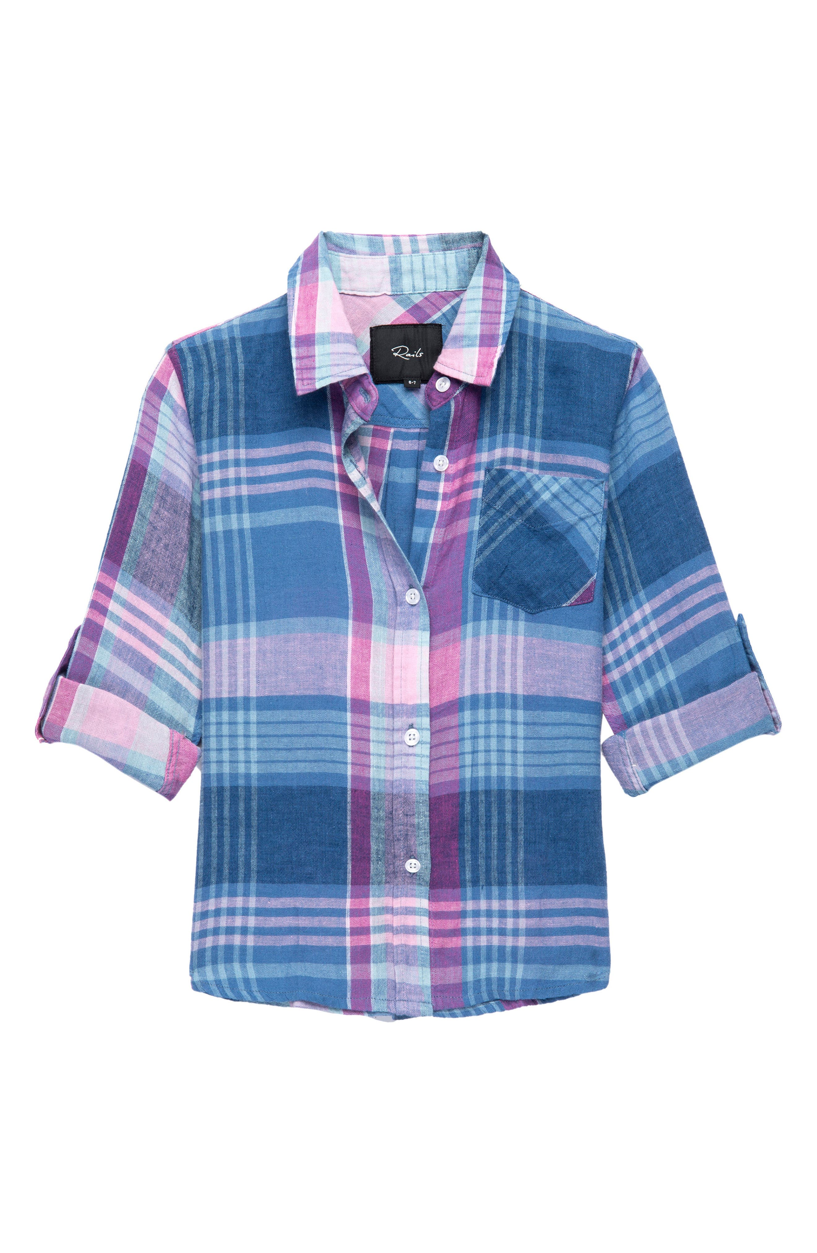 Cora Plaid Shirt,                             Main thumbnail 1, color,                             Laguna Coast Azaela