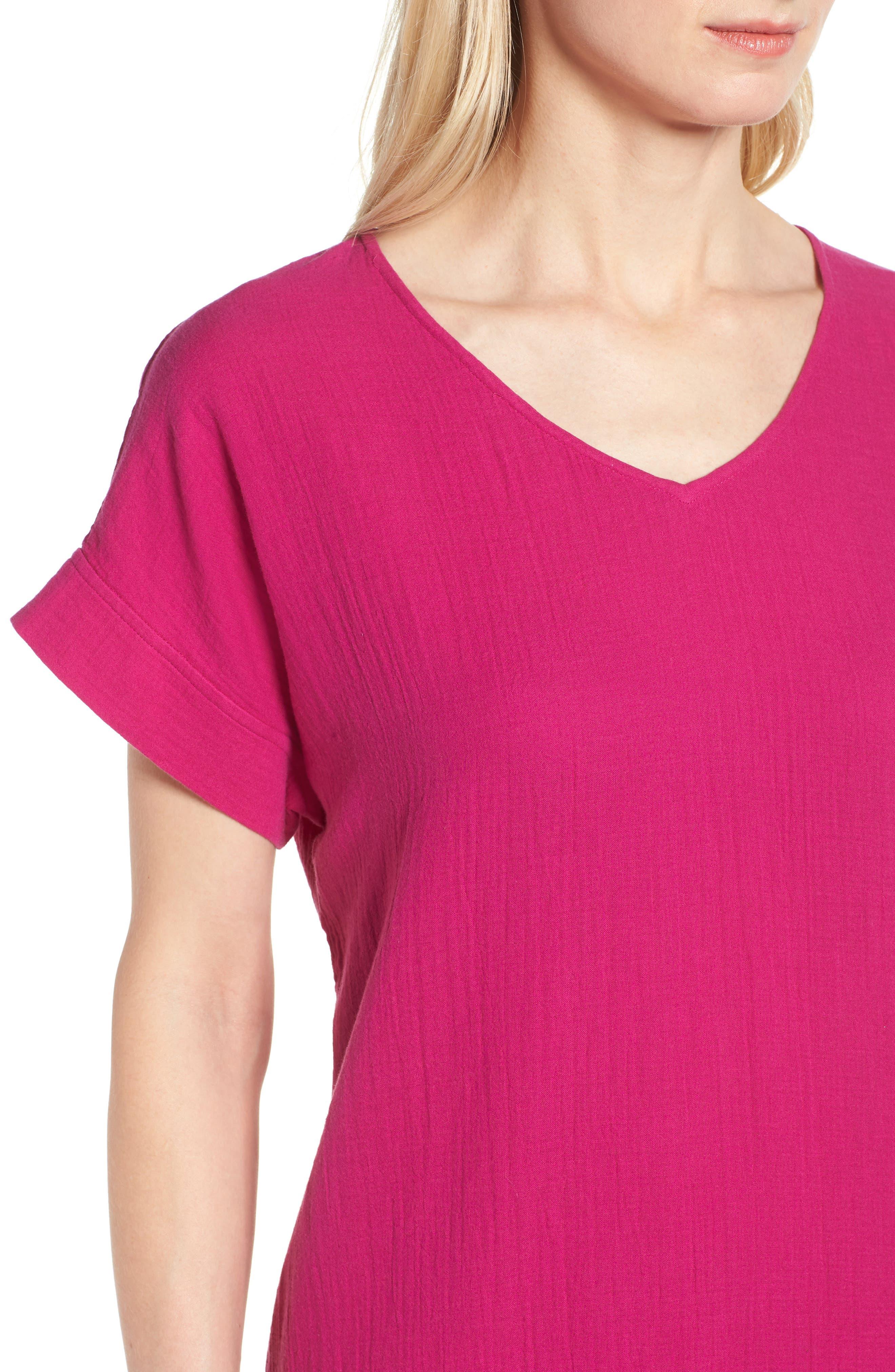 V-Neck Cotton Midi Dress,                             Alternate thumbnail 4, color,                             Cerise