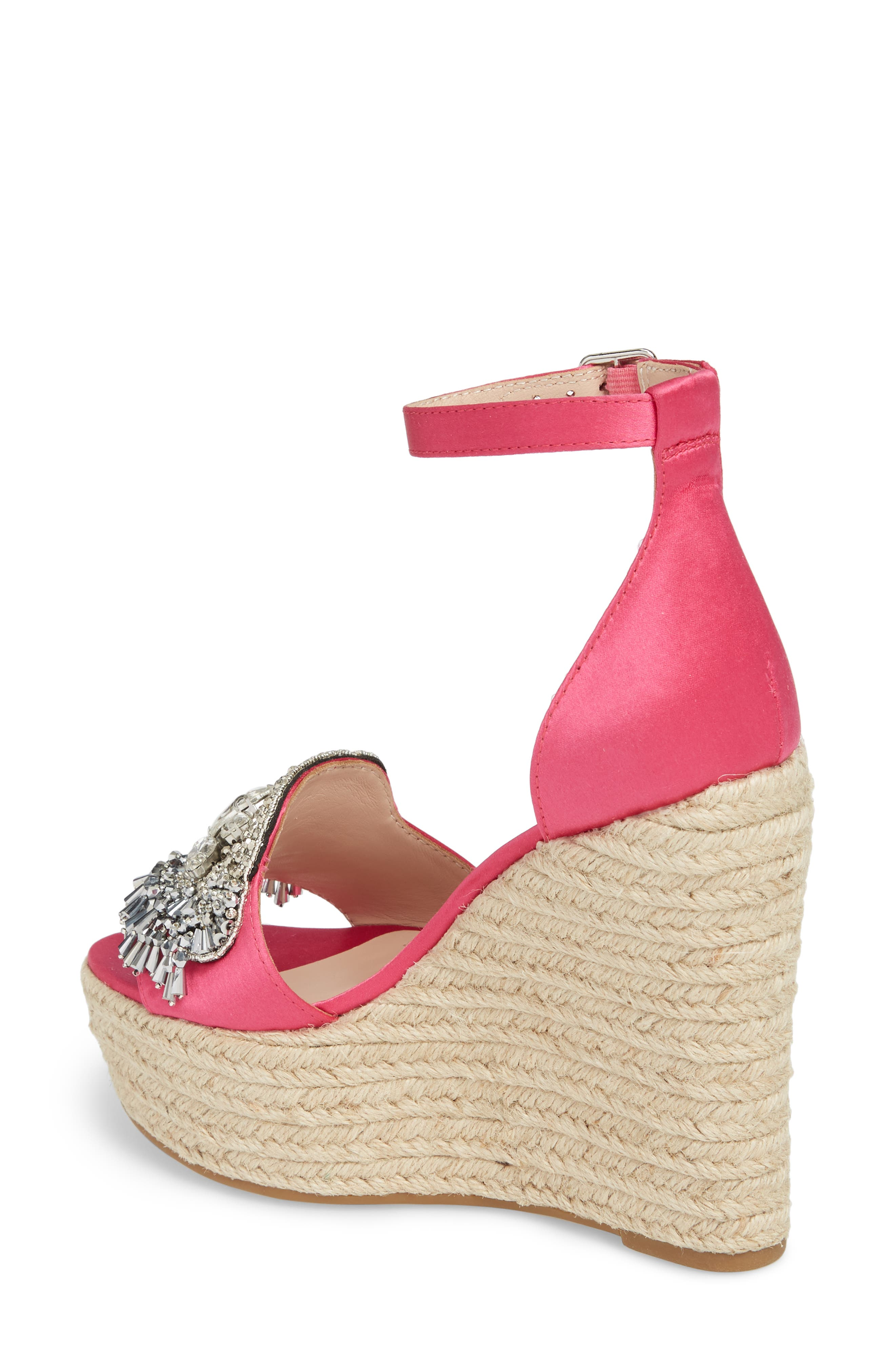 Maxim Platform Wedge Sandal,                             Alternate thumbnail 2, color,                             Posey Satin