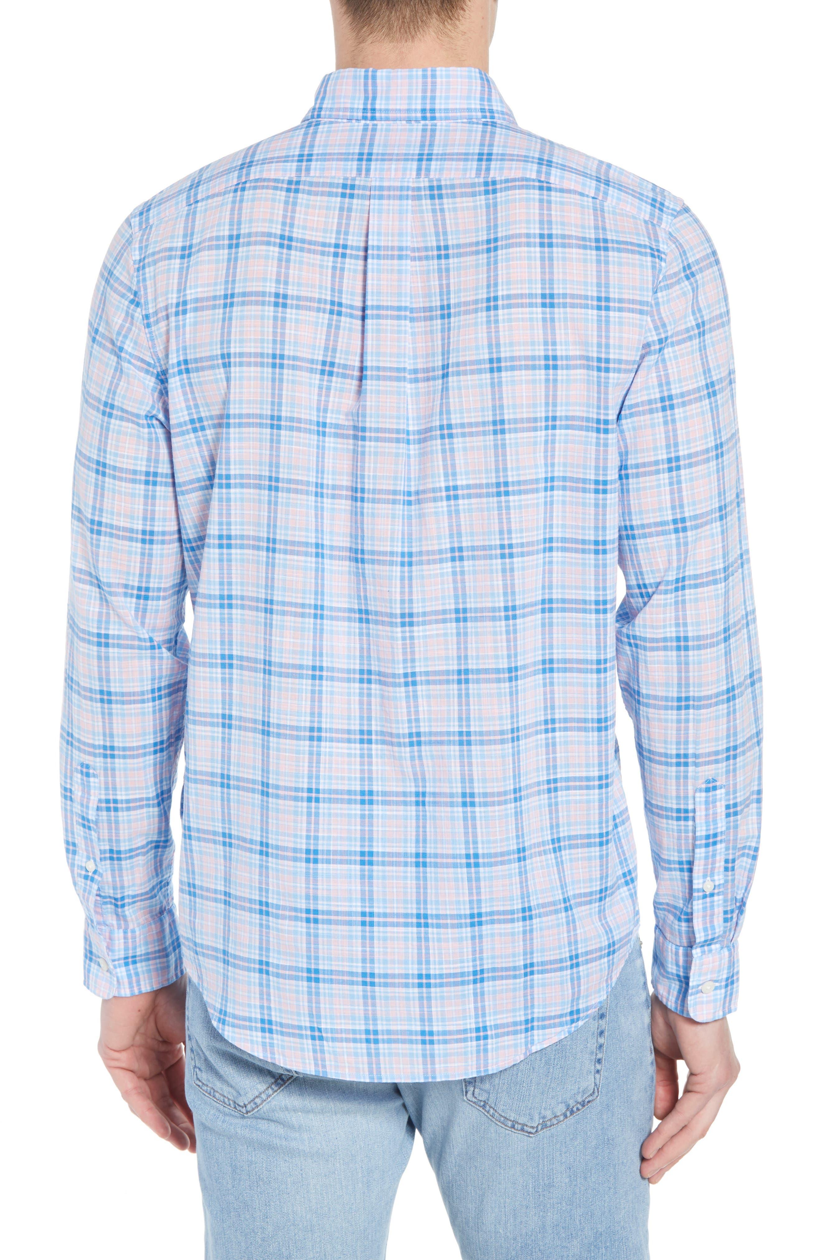 Stoney Hill Tucker Classic Fit Plaid Sport Shirt,                             Alternate thumbnail 3, color,                             Hibiscus