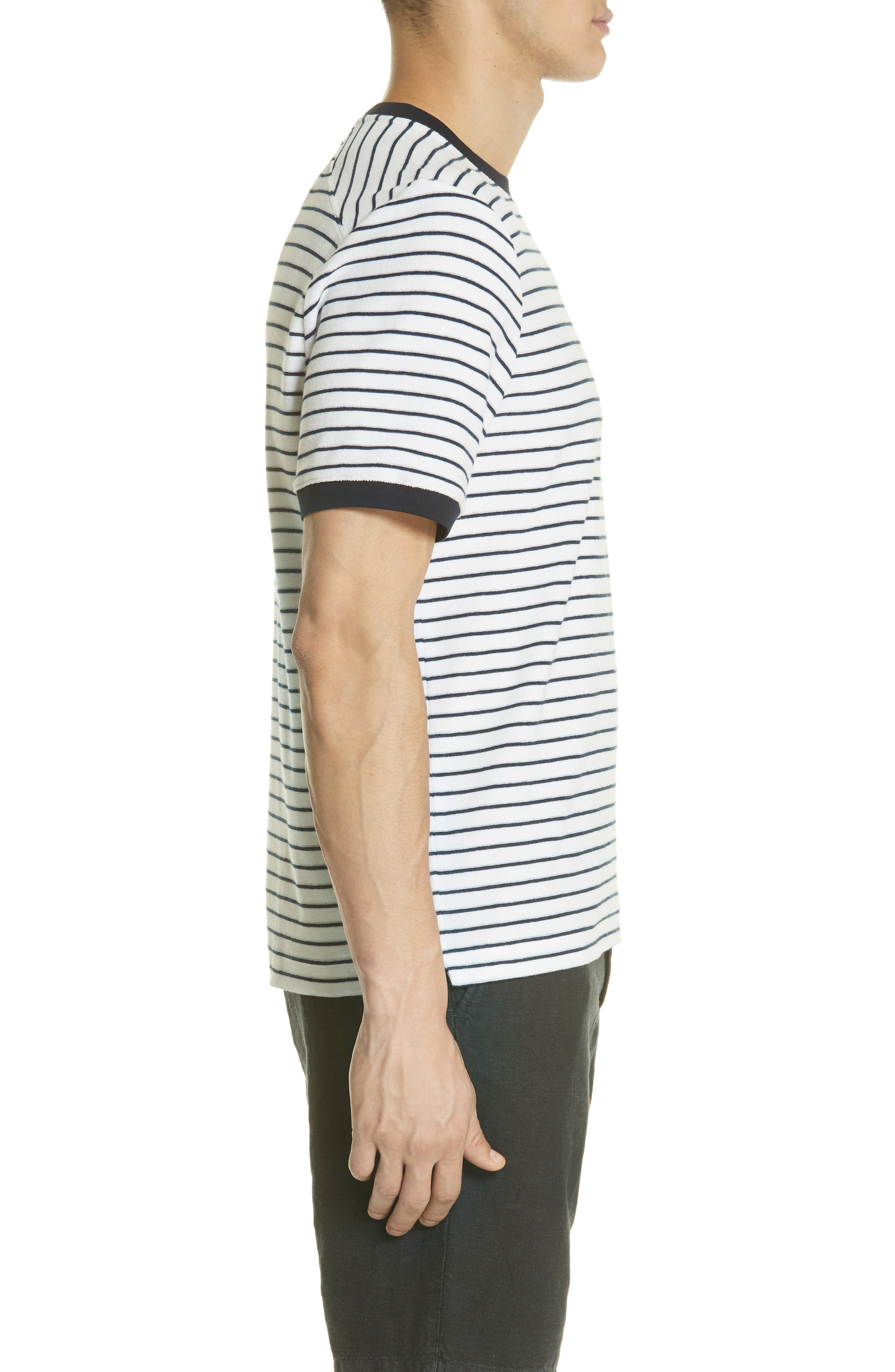 Stripe Terry T-Shirt,                             Alternate thumbnail 3, color,                             Squid Ink / Canvas