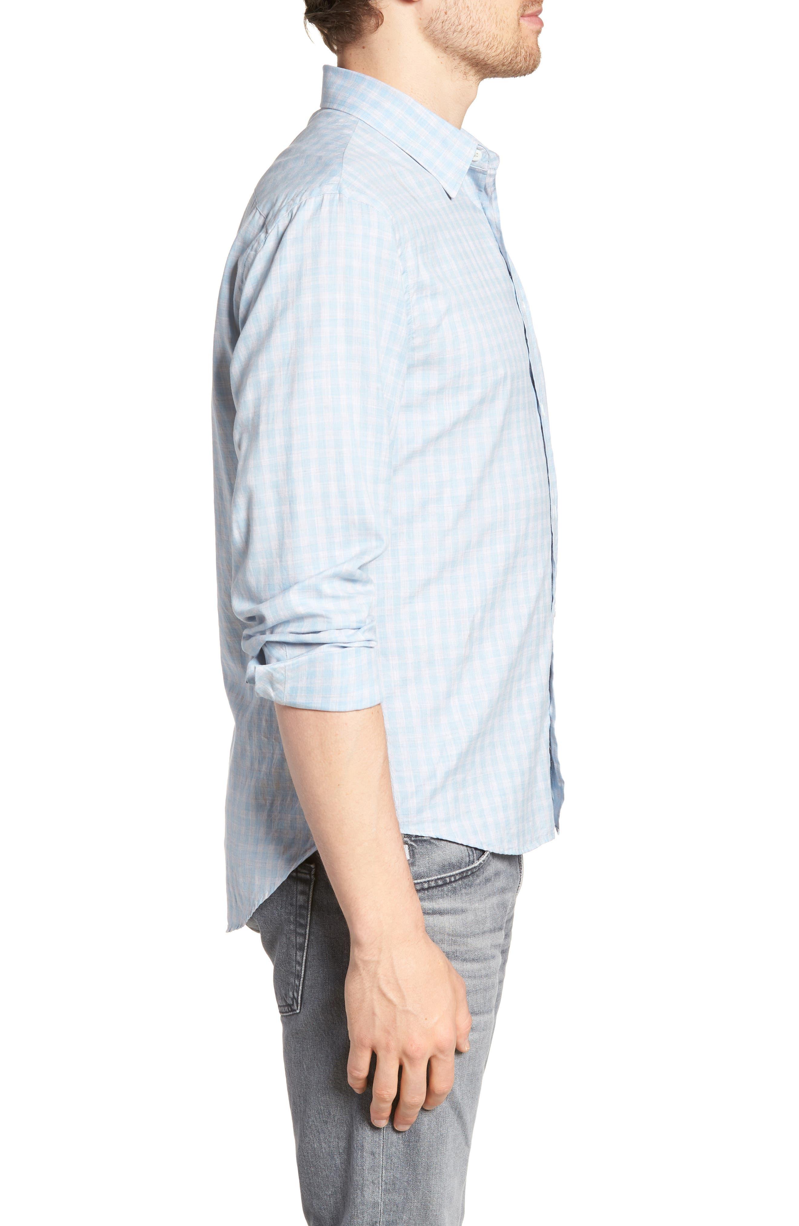 Kirby Slim Fit Check Sport Shirt,                             Alternate thumbnail 4, color,                             Blue/ Grey