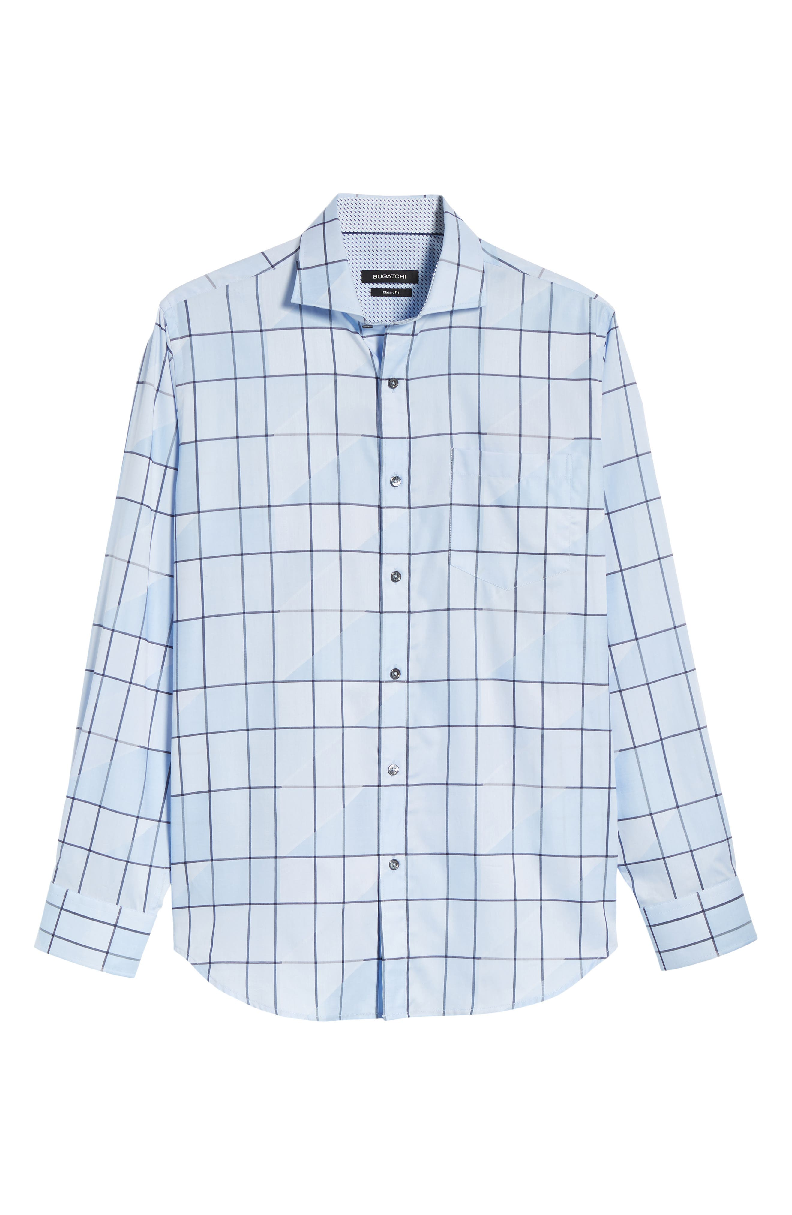 Classic Fit Jacquard Check Sport Shirt,                             Alternate thumbnail 6, color,                             Sky