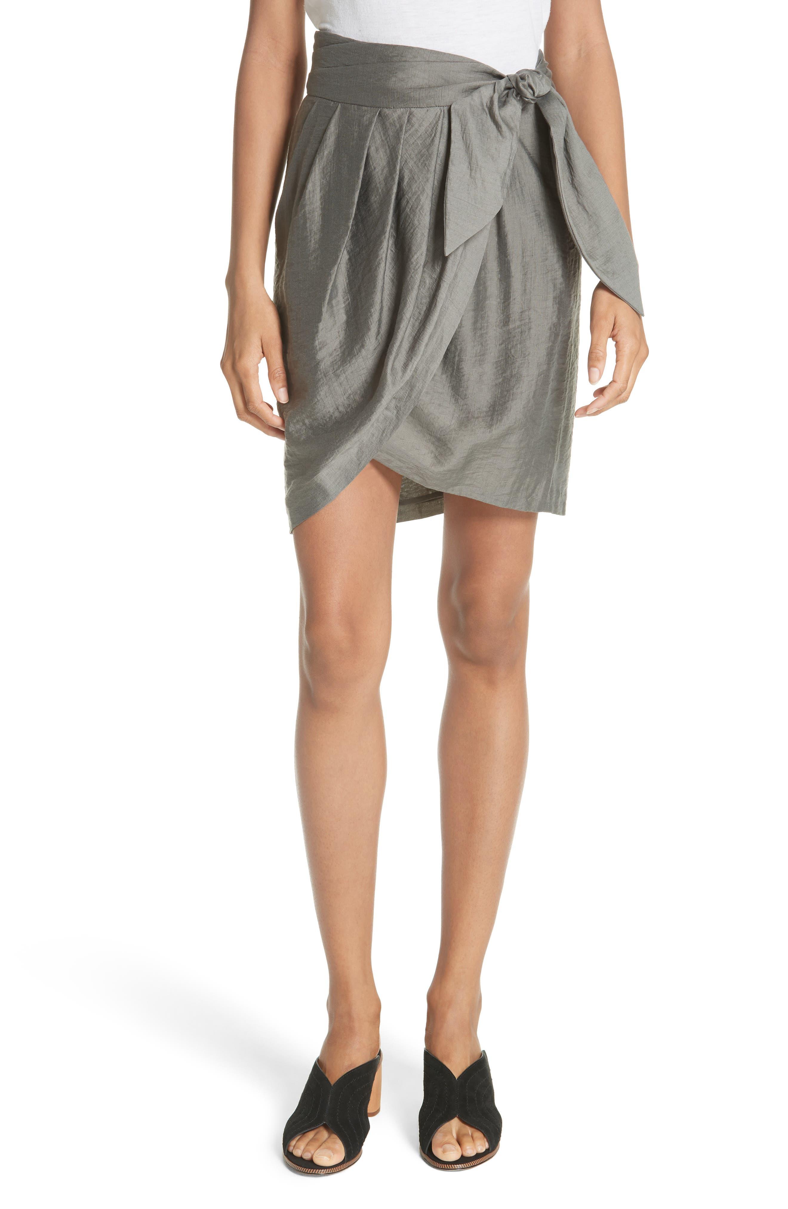Erlecia Wrap Skirt,                         Main,                         color, Moss