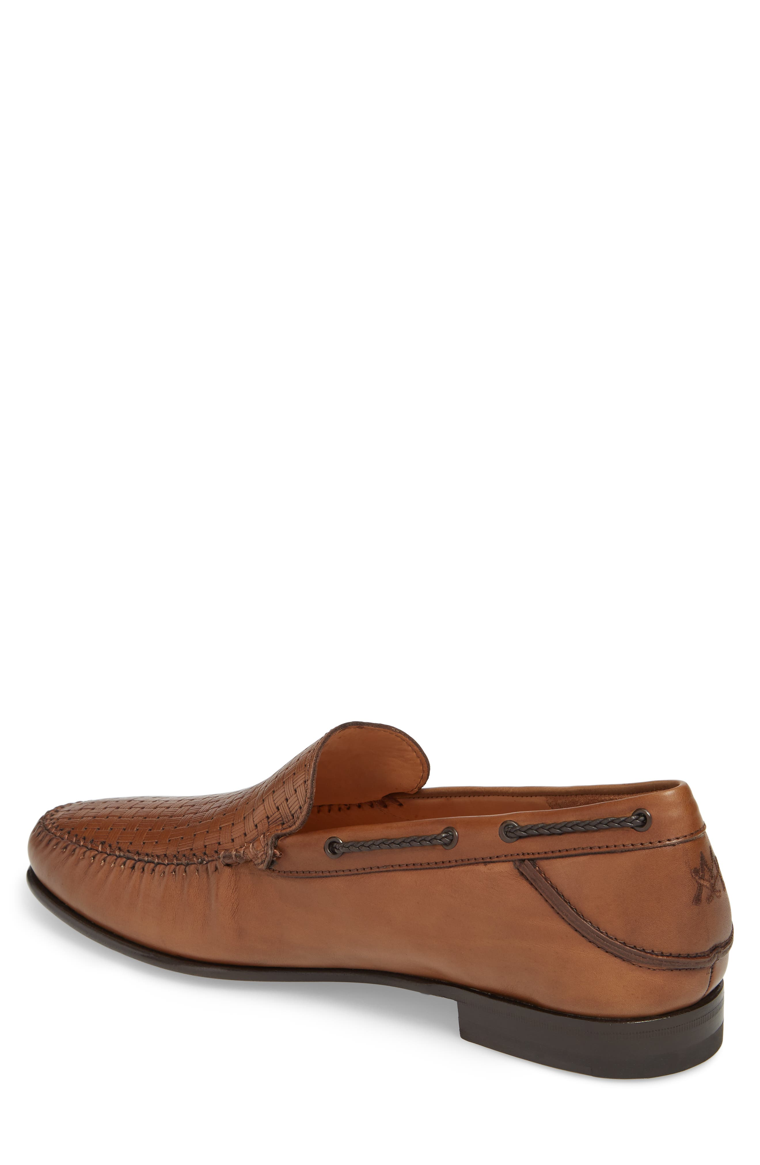 Jano Embossed Moc-Toe Loafer,                             Alternate thumbnail 2, color,                             Cognac Leather