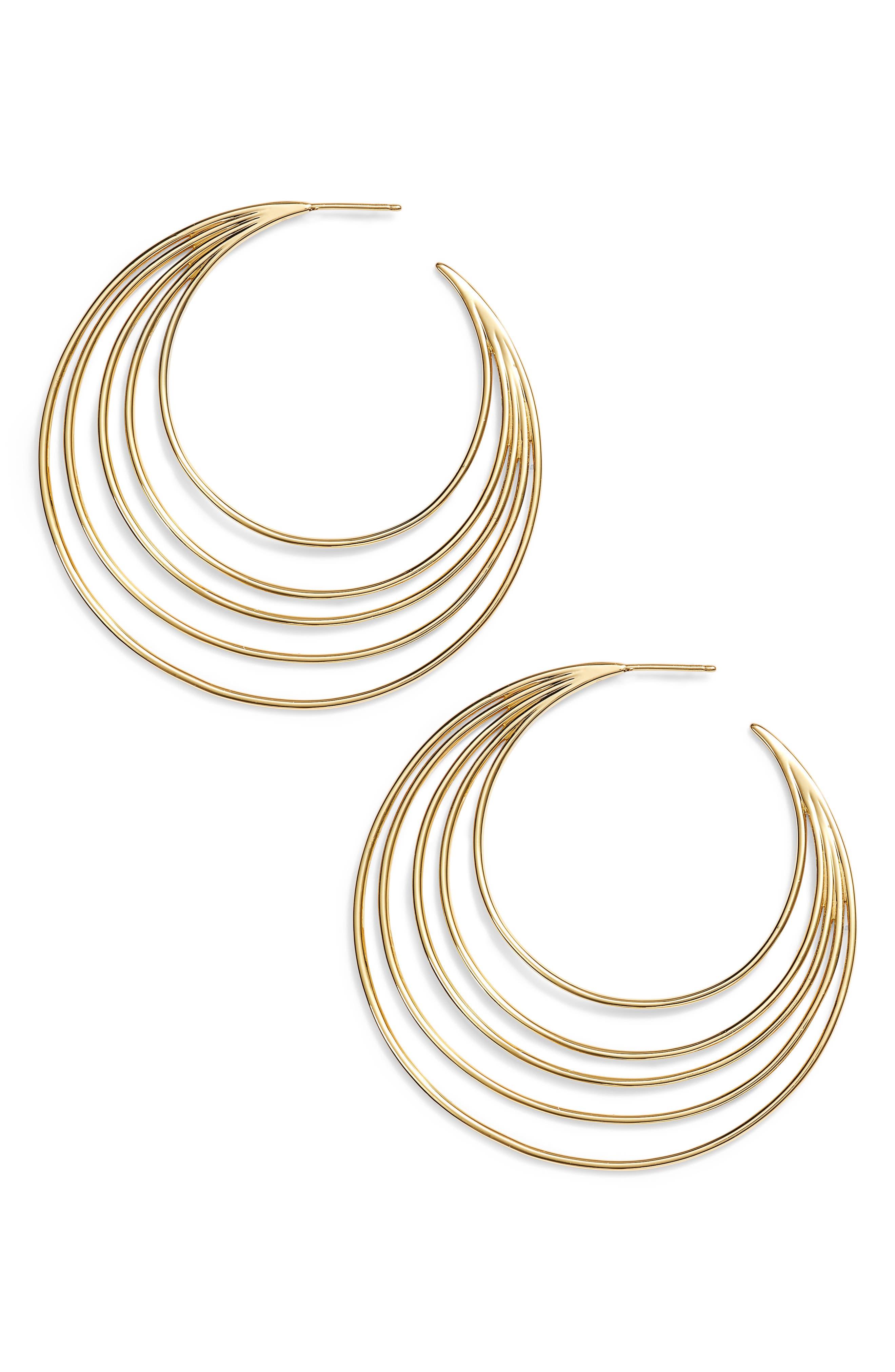 Casey Profile Hoop Earrings,                         Main,                         color, Gold