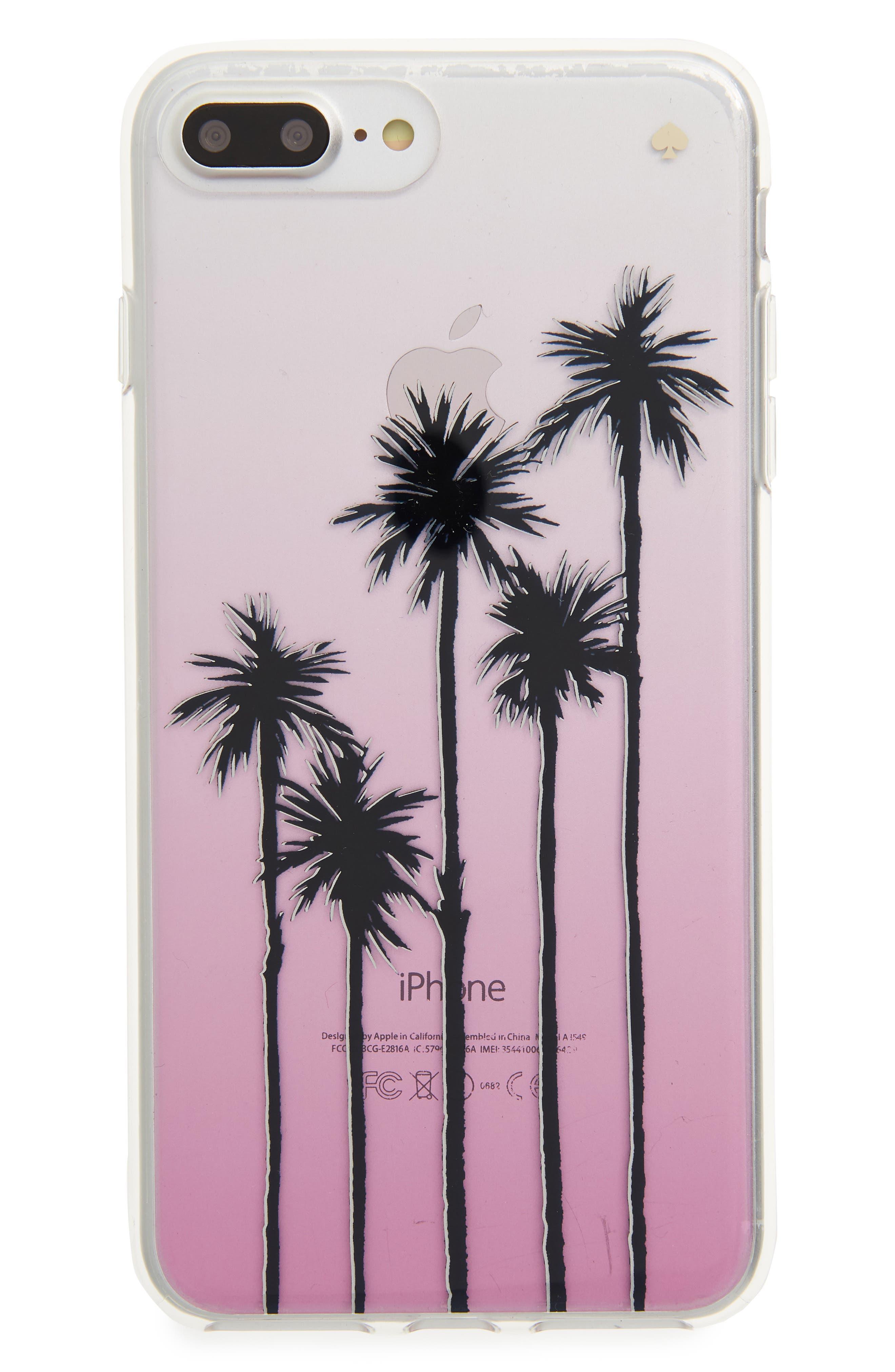 transparent palm tree ombré iPhone 7/8 & 7/8 Plus case,                         Main,                         color, Pink Multi