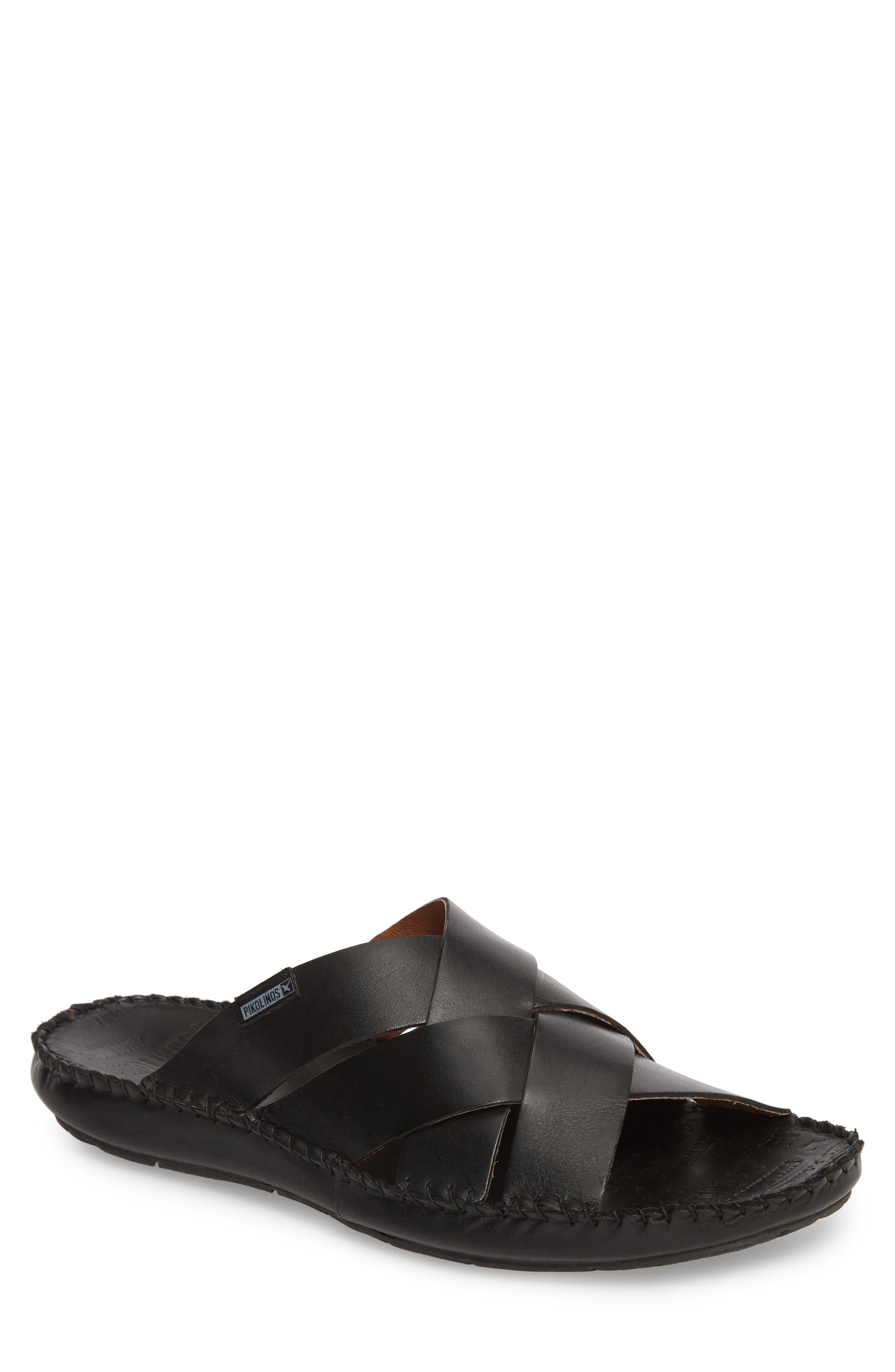 'Tarifa' Slide Sandal,                             Main thumbnail 1, color,                             Black Leather