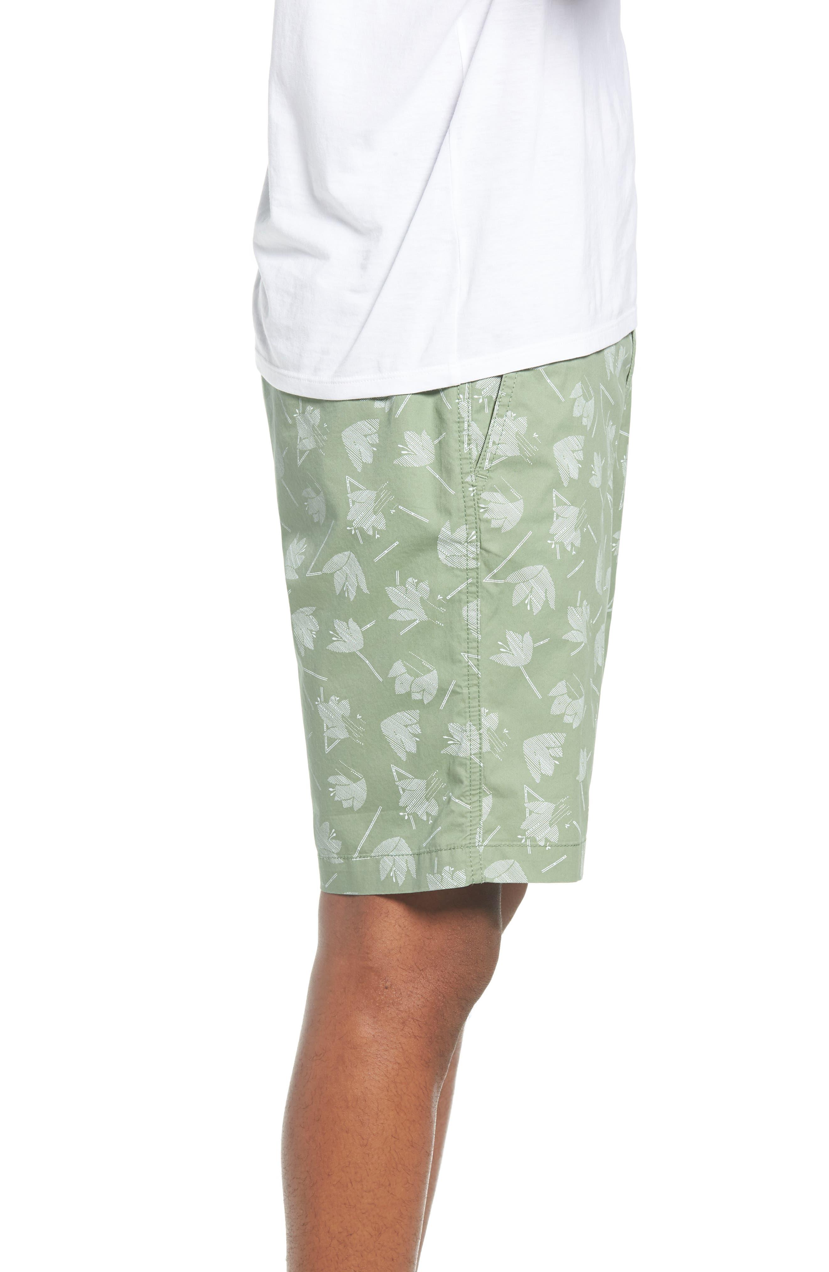 Deco Floral Print Shorts,                             Alternate thumbnail 3, color,                             Green Hedge Deco Floral