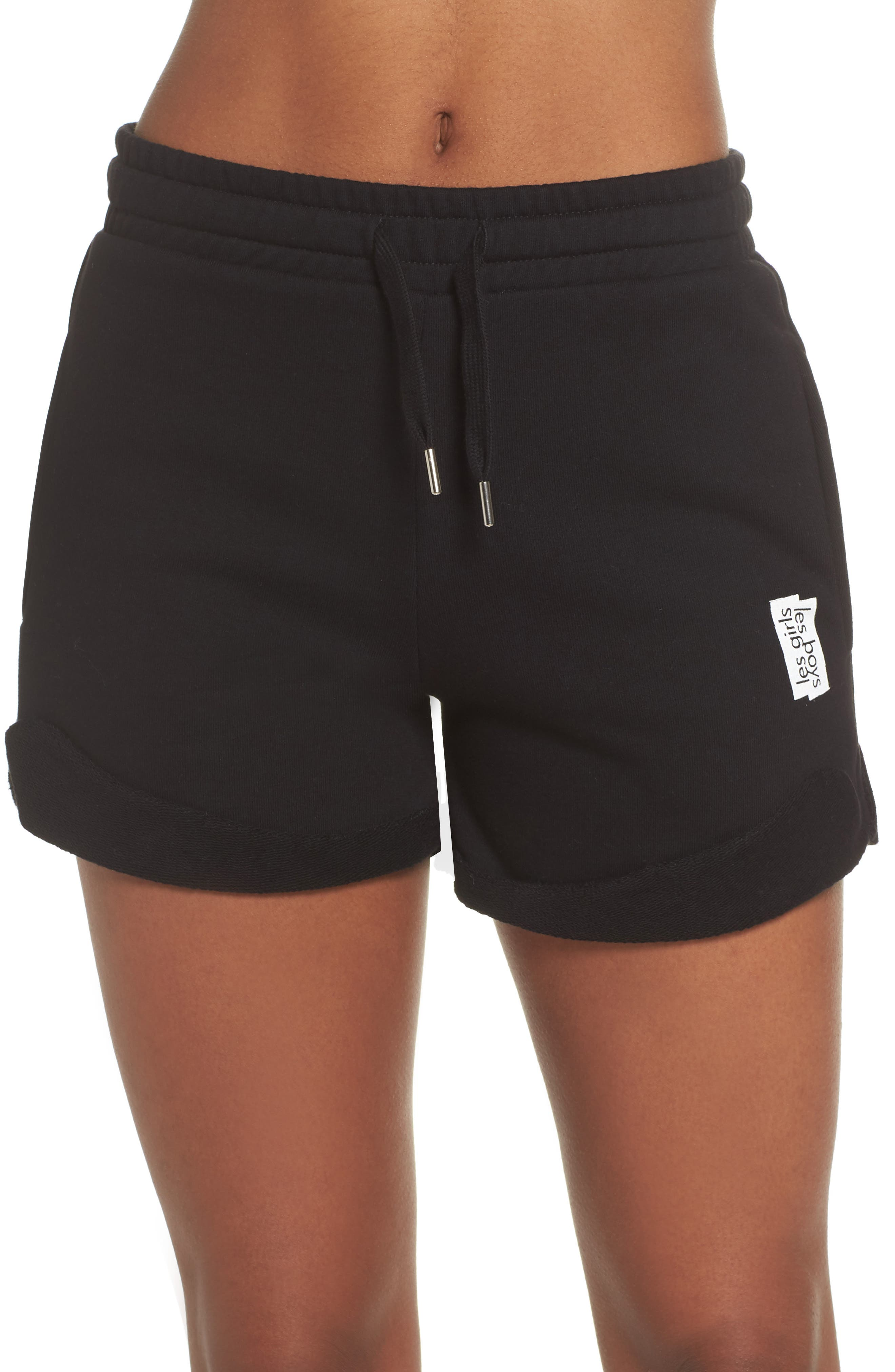 French Terry High Waist Shorts,                         Main,                         color, Black