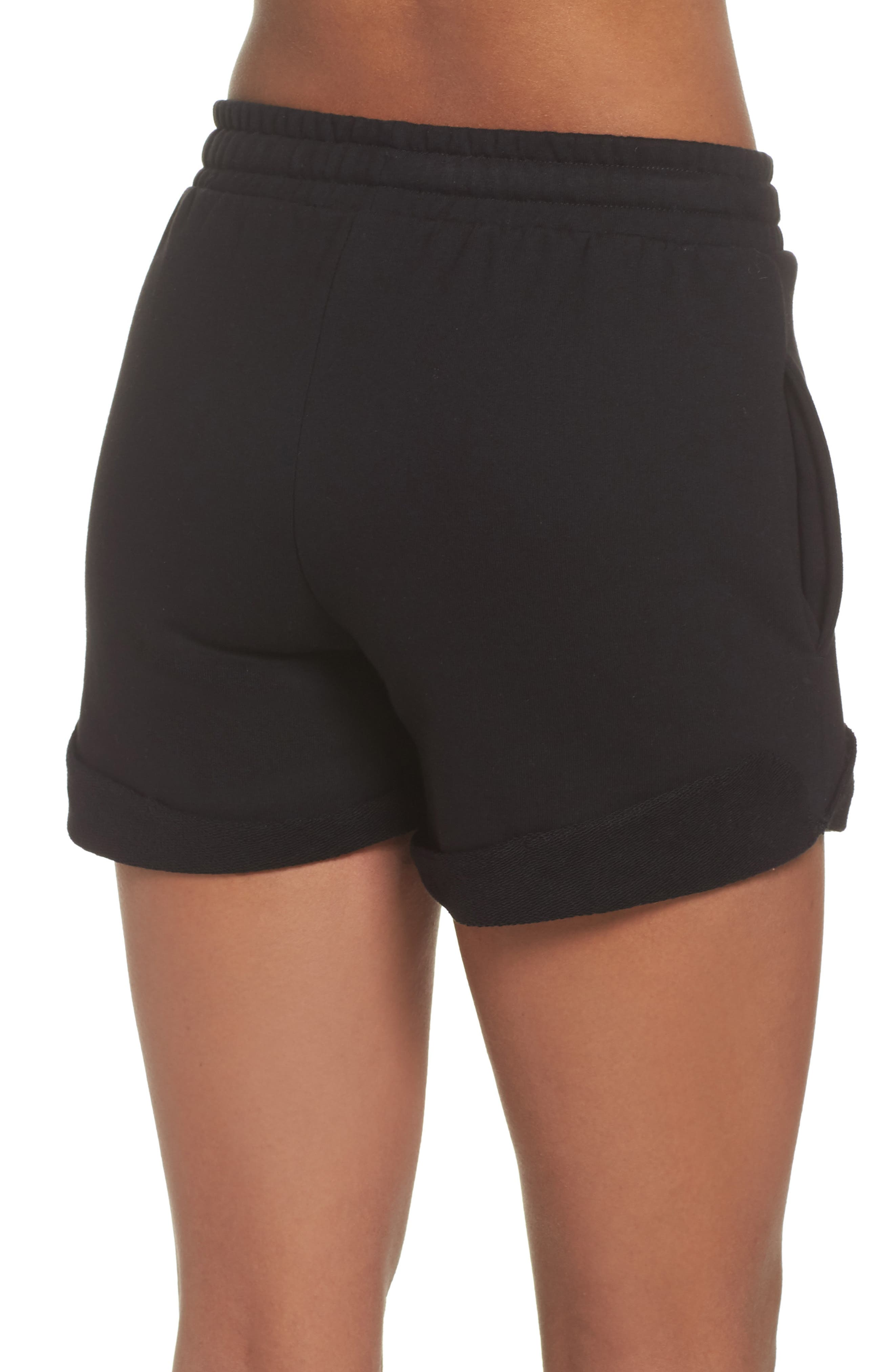 French Terry High Waist Shorts,                             Alternate thumbnail 2, color,                             Black
