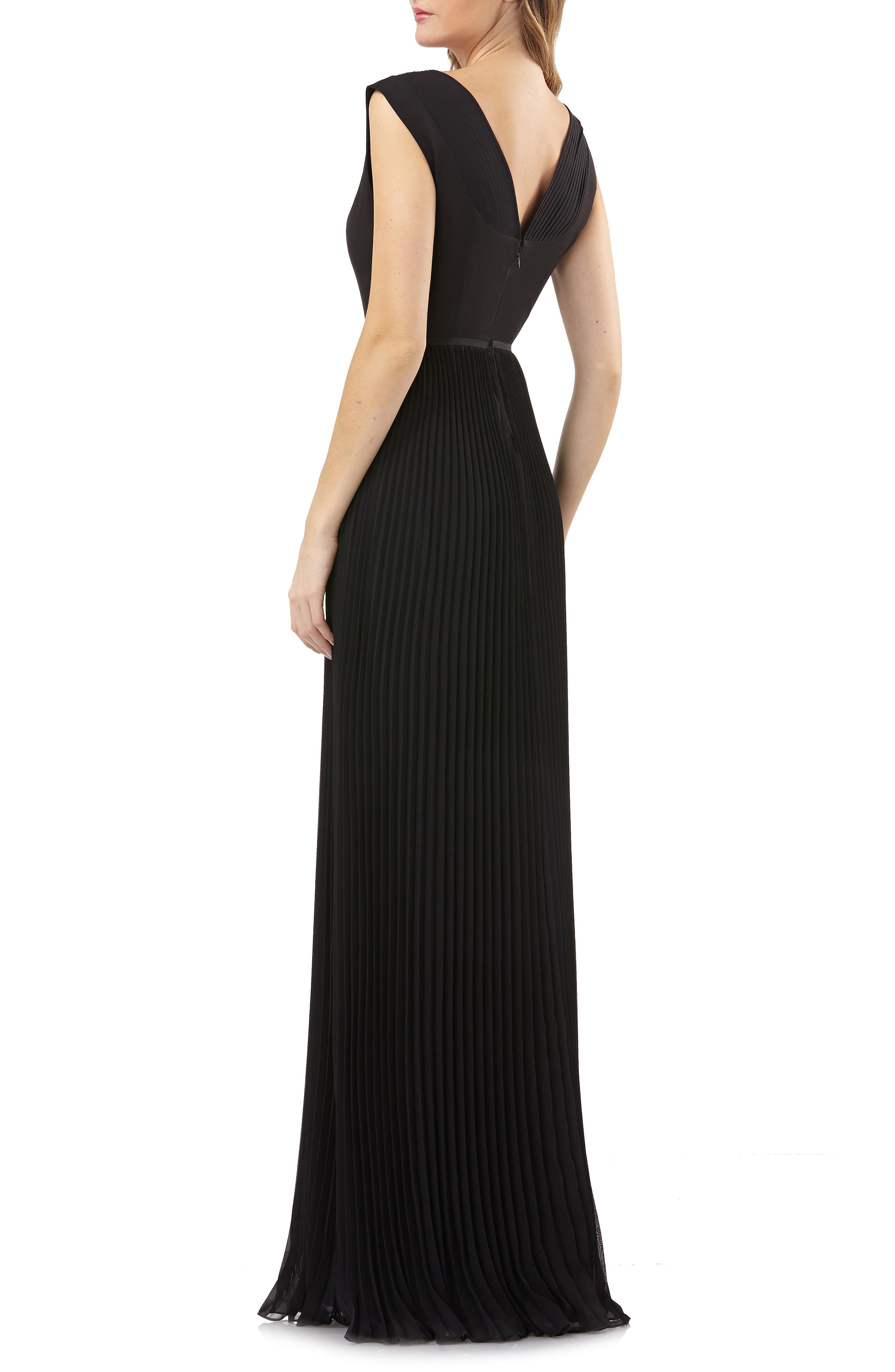 Sleeveless Pleated Gown,                             Alternate thumbnail 2, color,                             Black