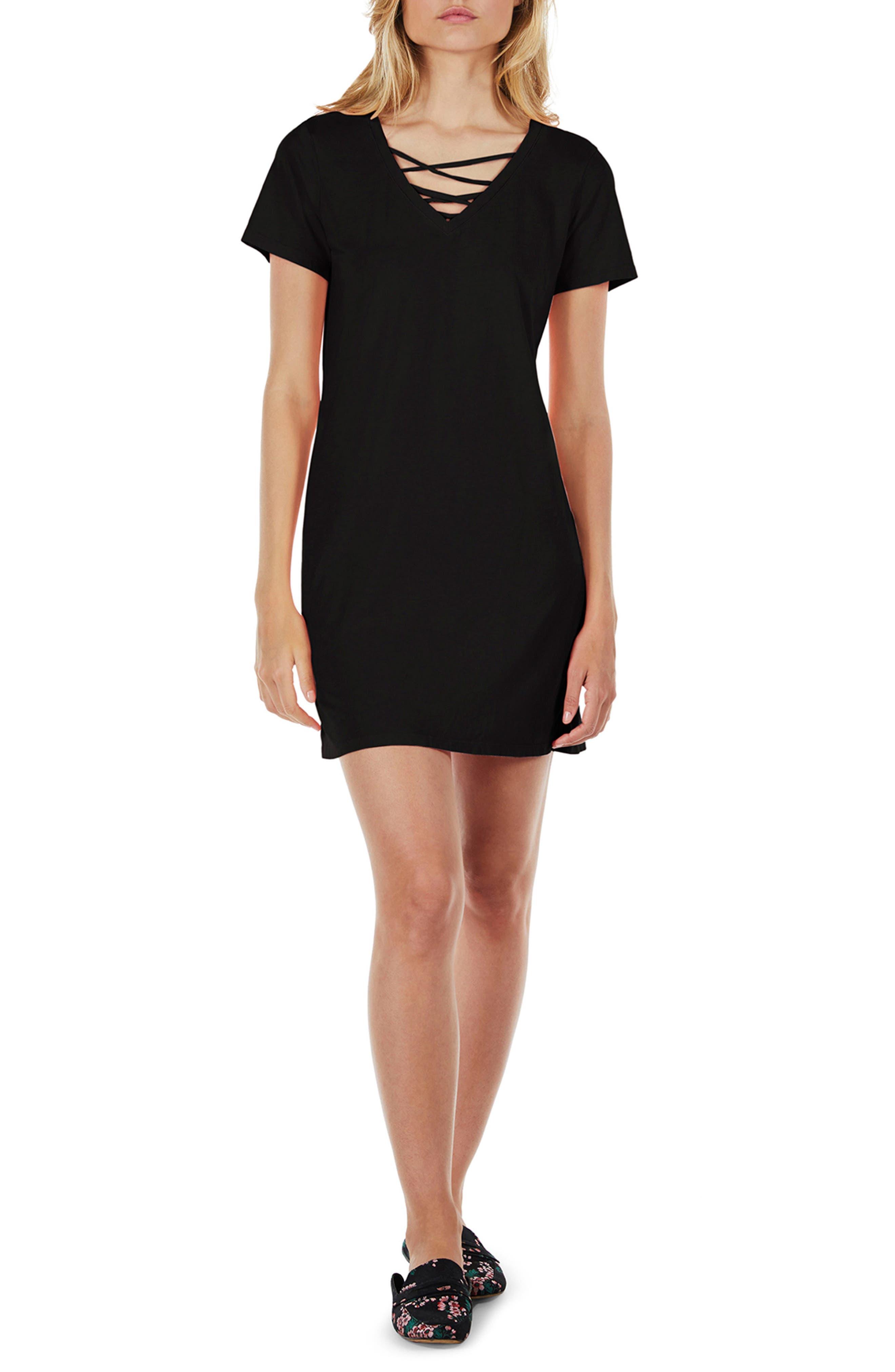 Strappy V-Neck Shift Dress,                             Main thumbnail 1, color,                             Black