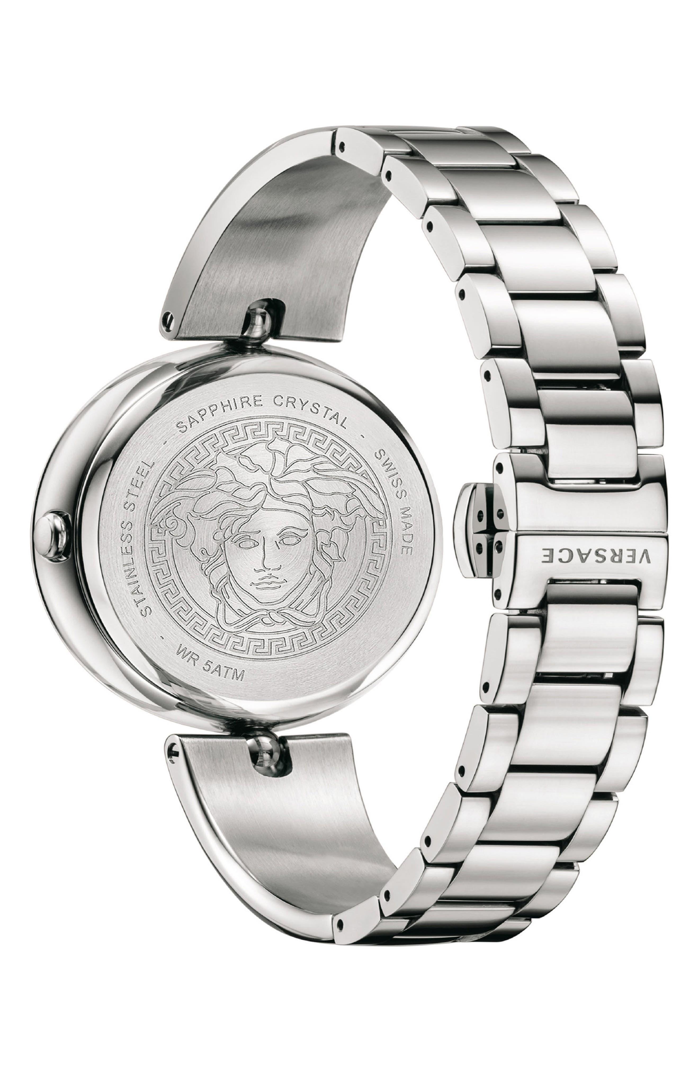 Palazzo Empire Semi Bangle Bracelet Watch, 39mm,                             Alternate thumbnail 2, color,                             Silver/ White/ Silver