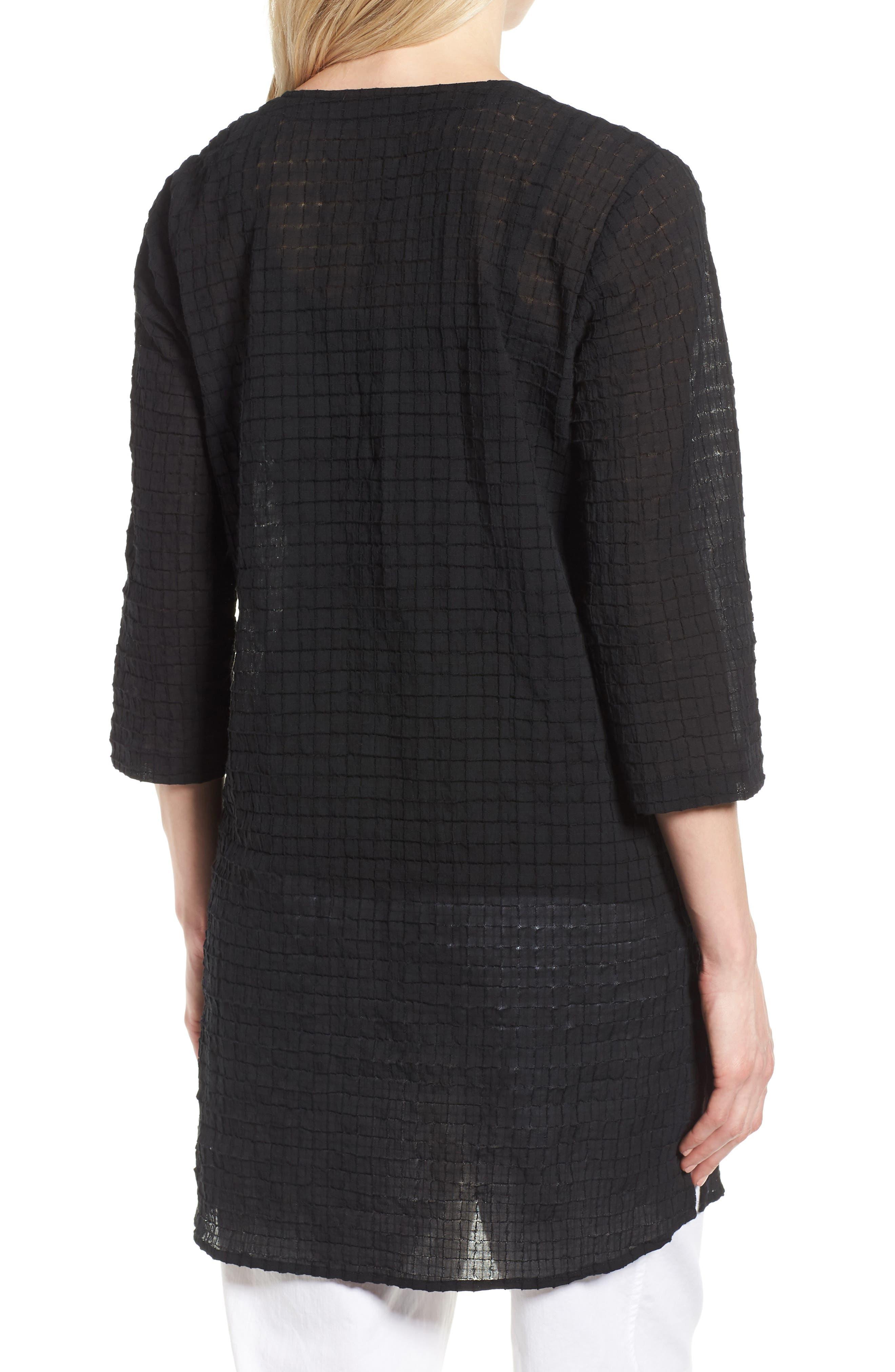 Stretch Organic Cotton Tunic,                             Alternate thumbnail 2, color,                             Black