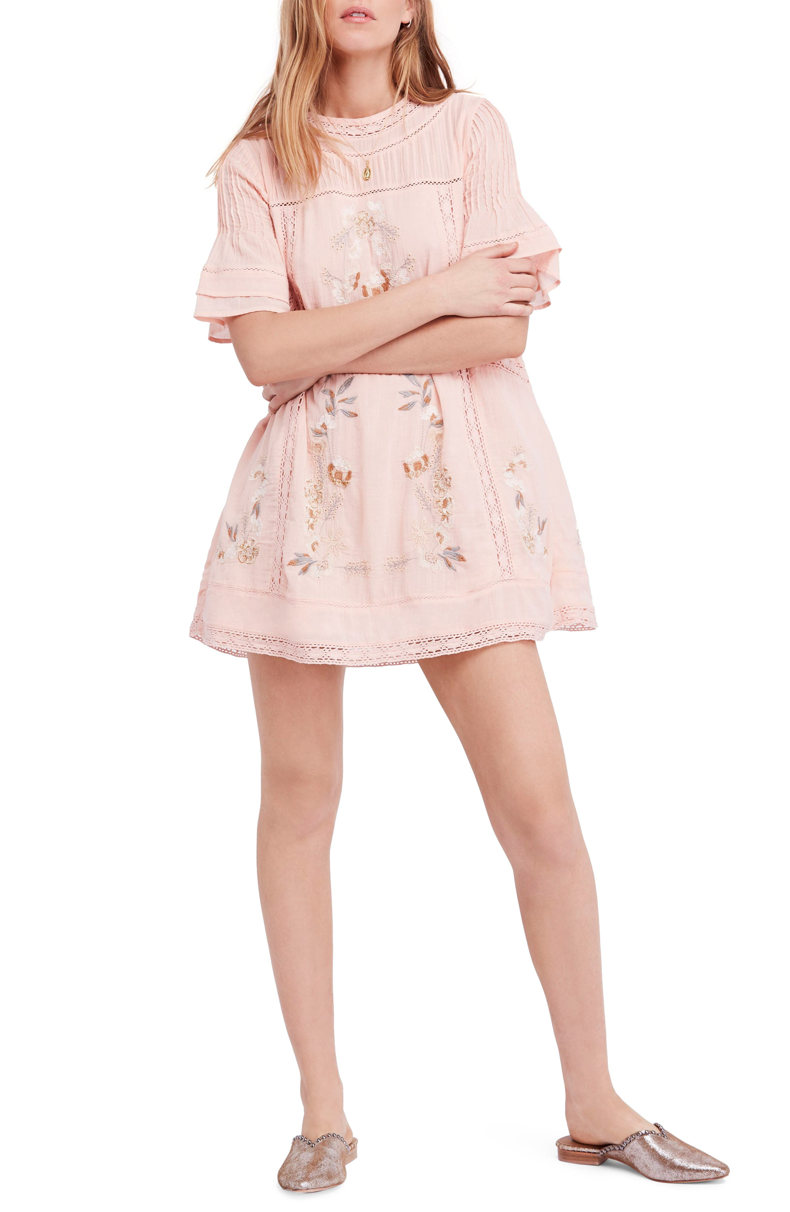 'Perfectly Victorian' Minidress,                             Main thumbnail 1, color,                             Pink