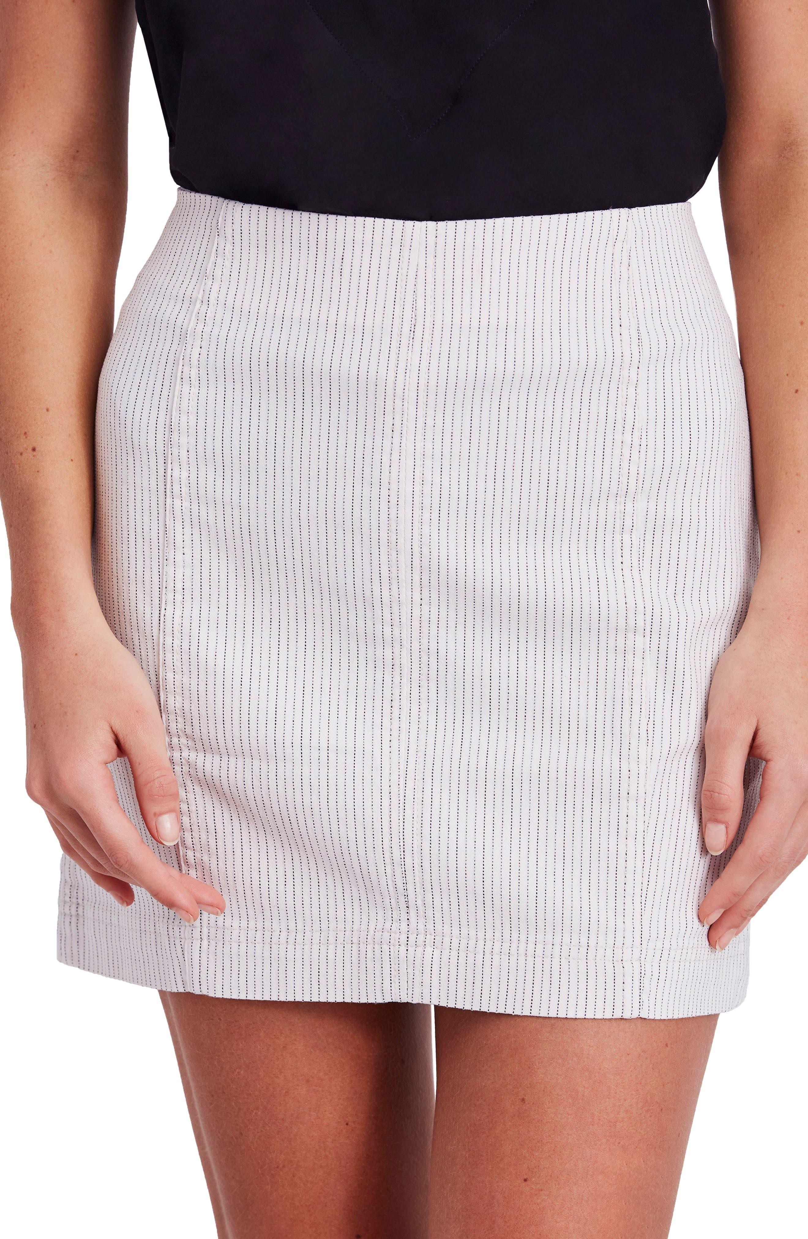 Modern Femme Pinstripe Skirt,                             Main thumbnail 1, color,                             Black And White Combo
