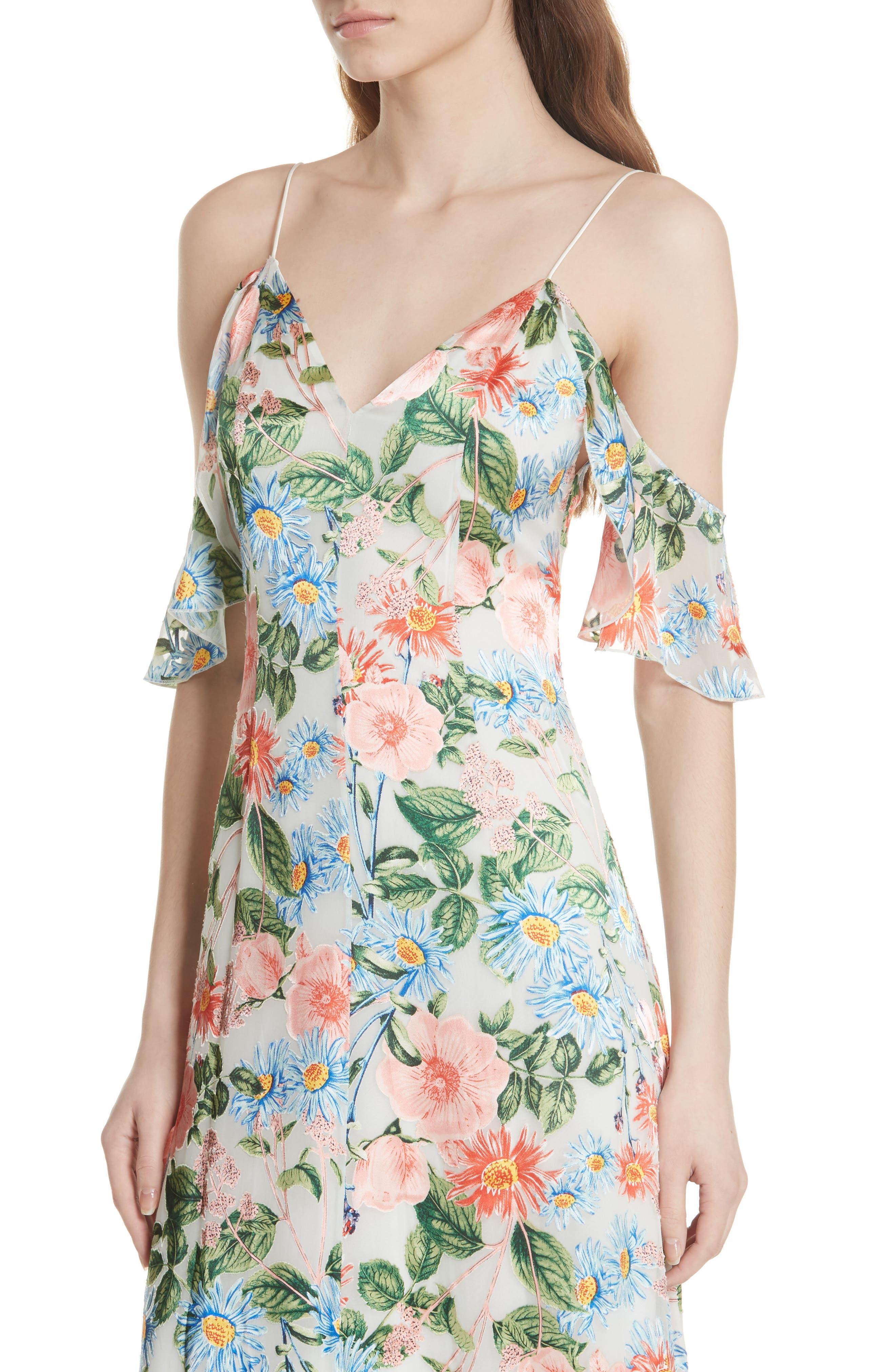 Alves Floral Cold Shoulder Maxi Dress,                             Alternate thumbnail 4, color,                             Floral Fields