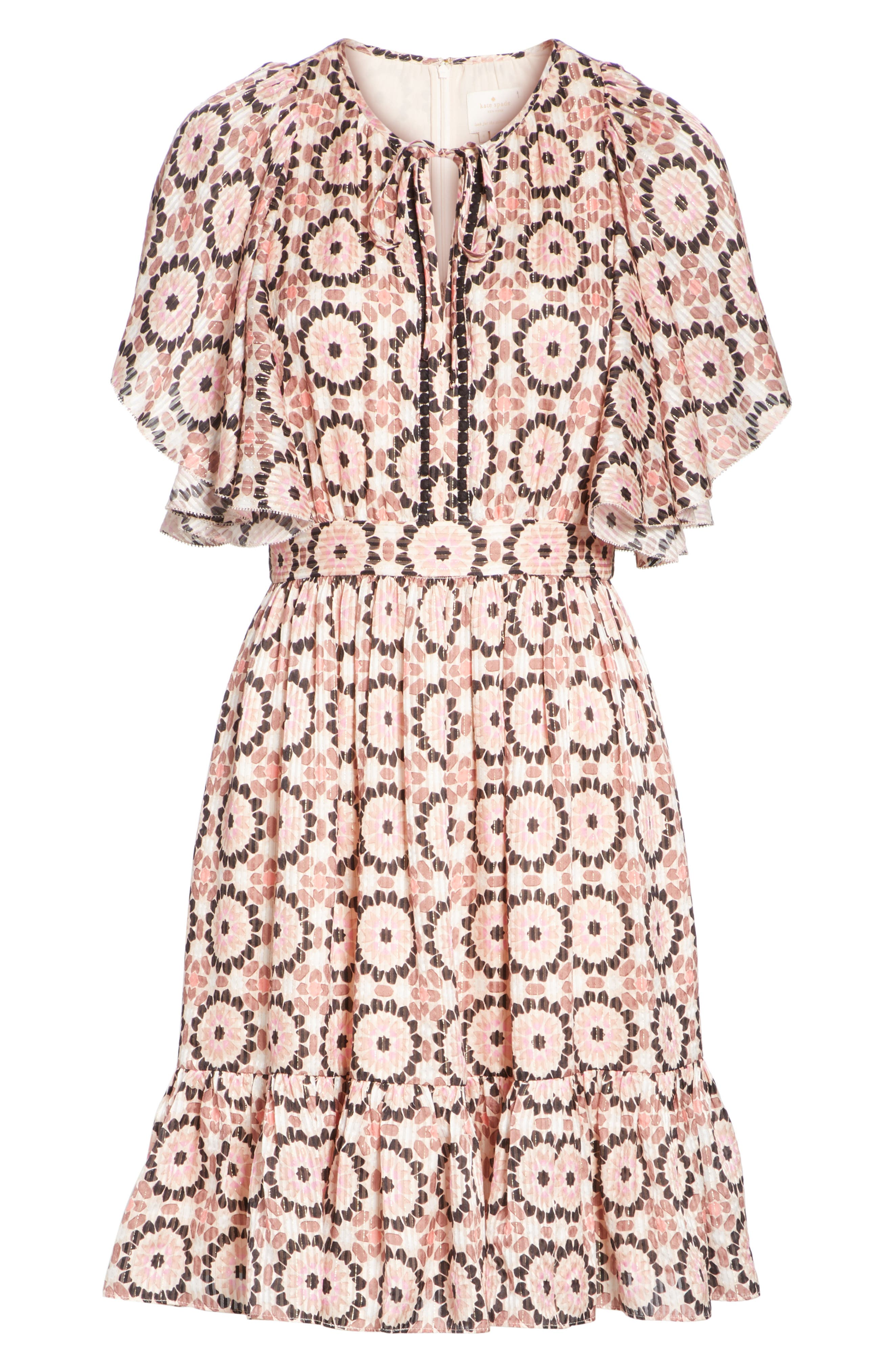 floral mosaic flutter dress,                             Alternate thumbnail 6, color,                             Pearl Pink Multi