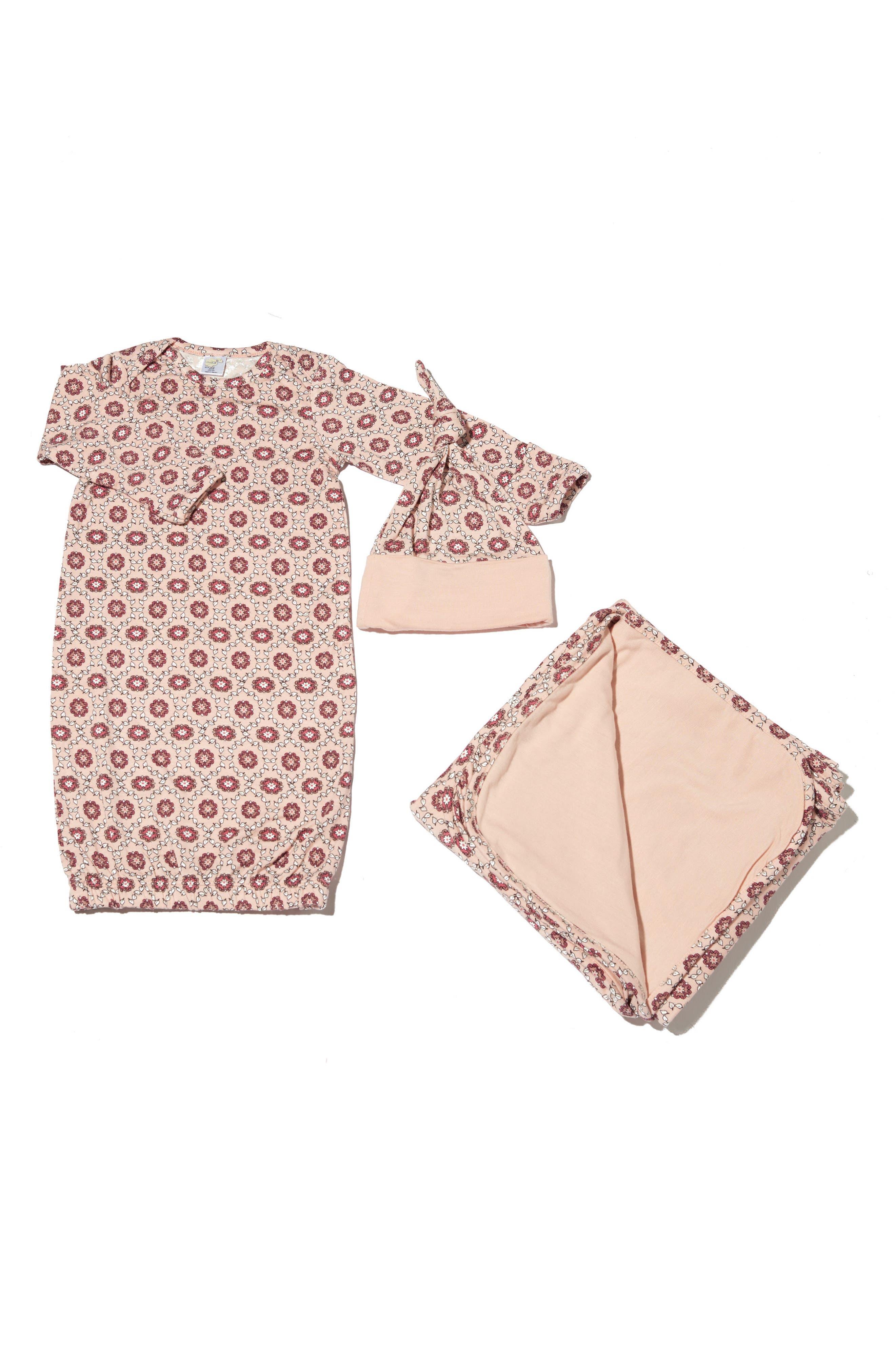 Print Gown, Hat & Blanket Set,                         Main,                         color, Blush Pink