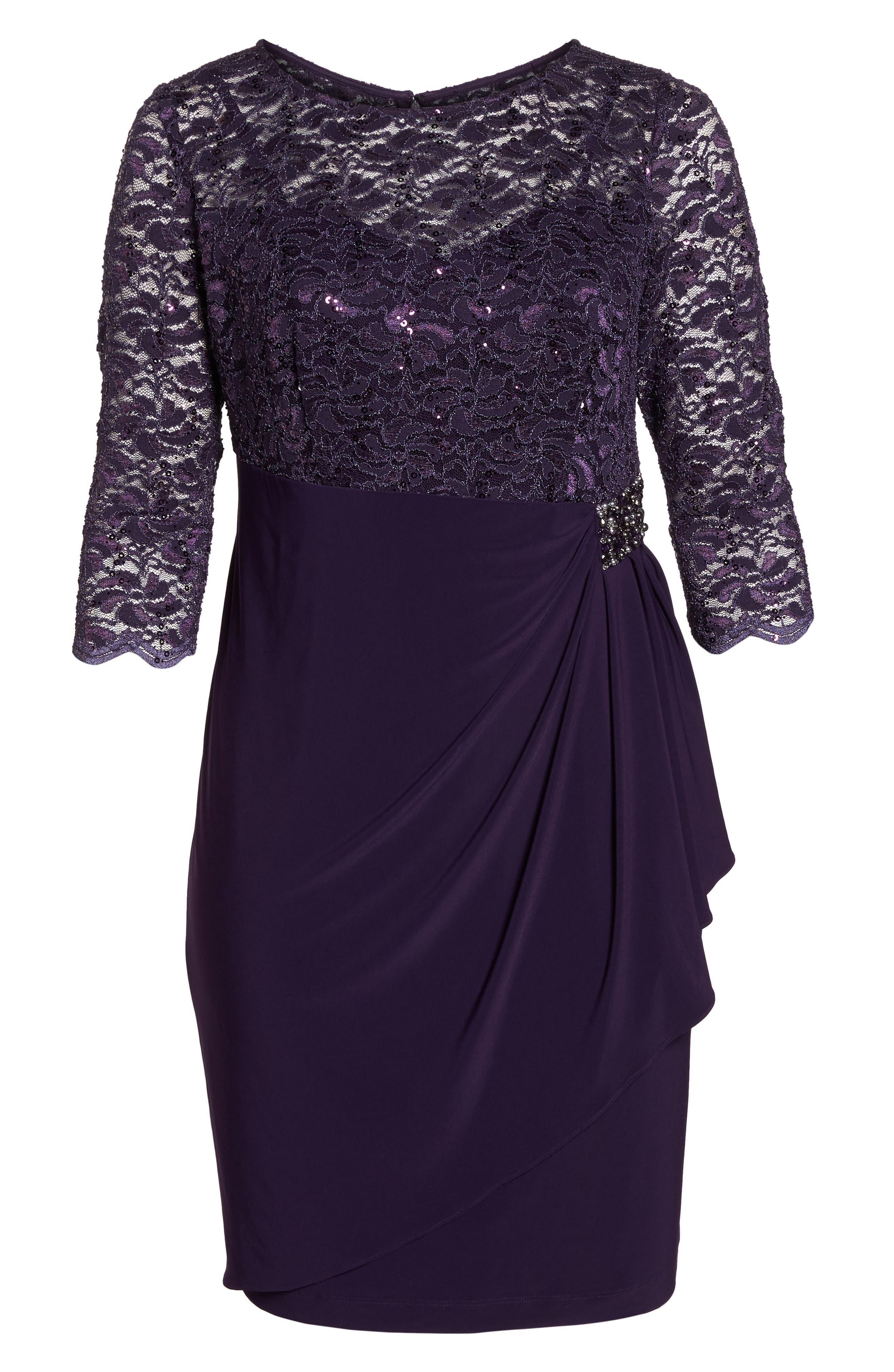 Embellished Ruffle Detail Shift Dress,                             Alternate thumbnail 5, color,                             Eggplant