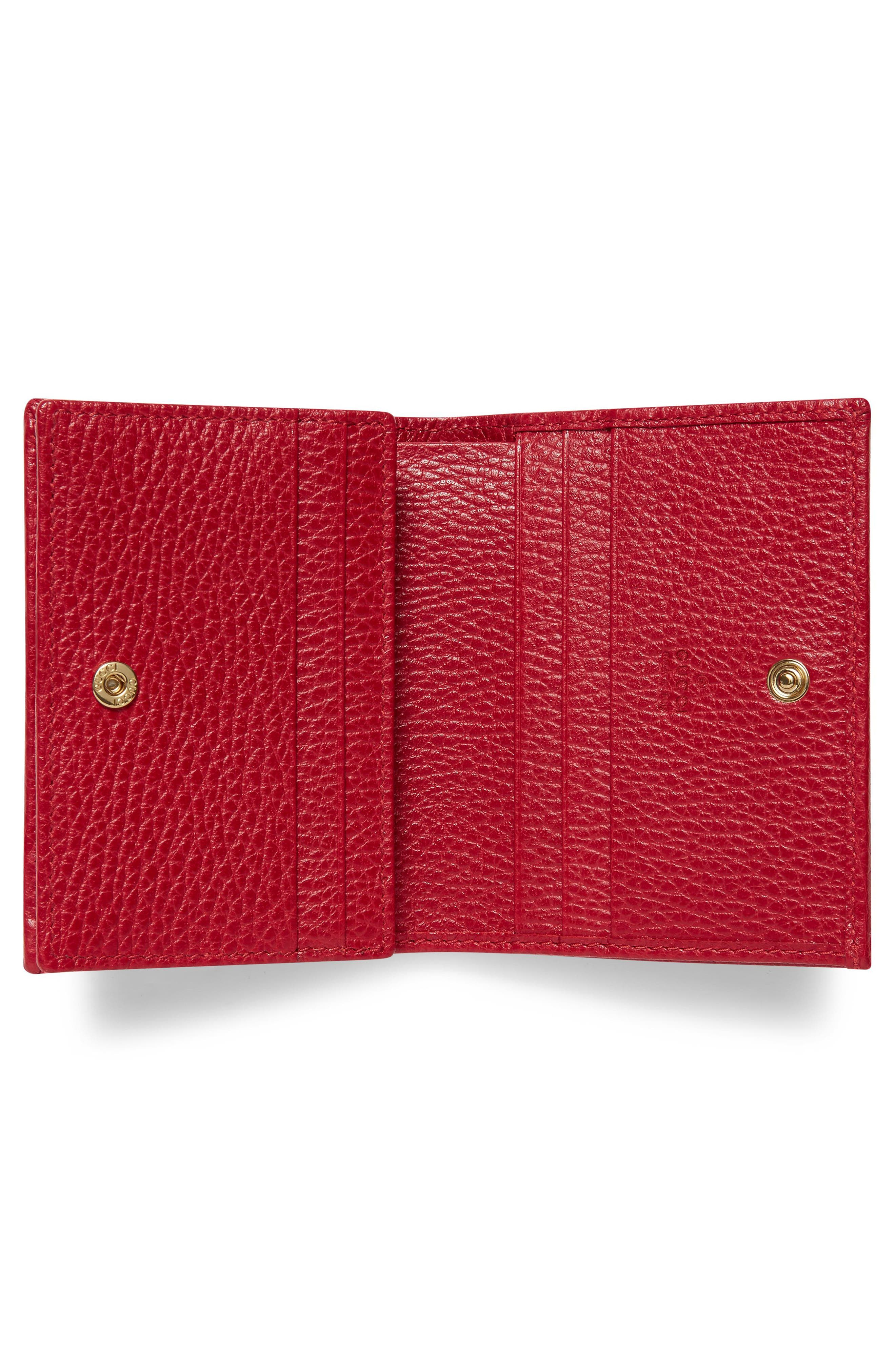 Petite Marmont Leather Card Case,                             Alternate thumbnail 2, color,                             Hibiscus Red