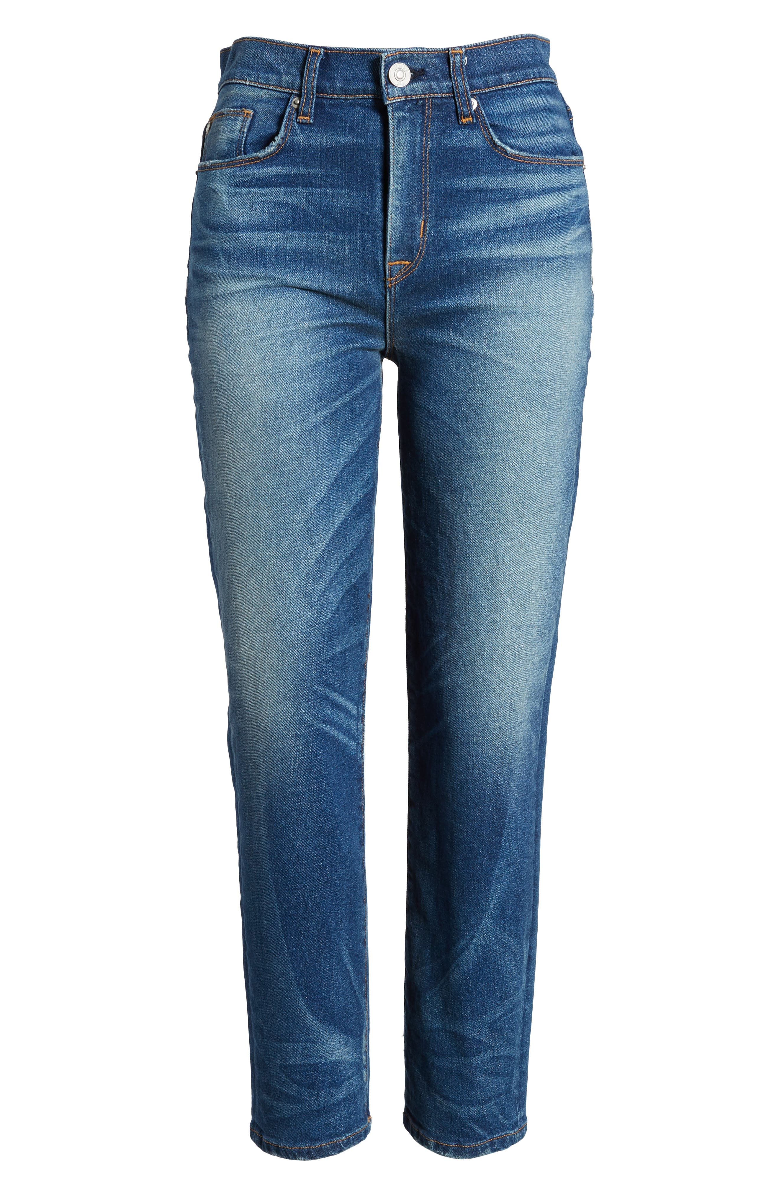 Zoeey High Waist Crop Straight Leg Jeans,                             Alternate thumbnail 7, color,                             Undenied