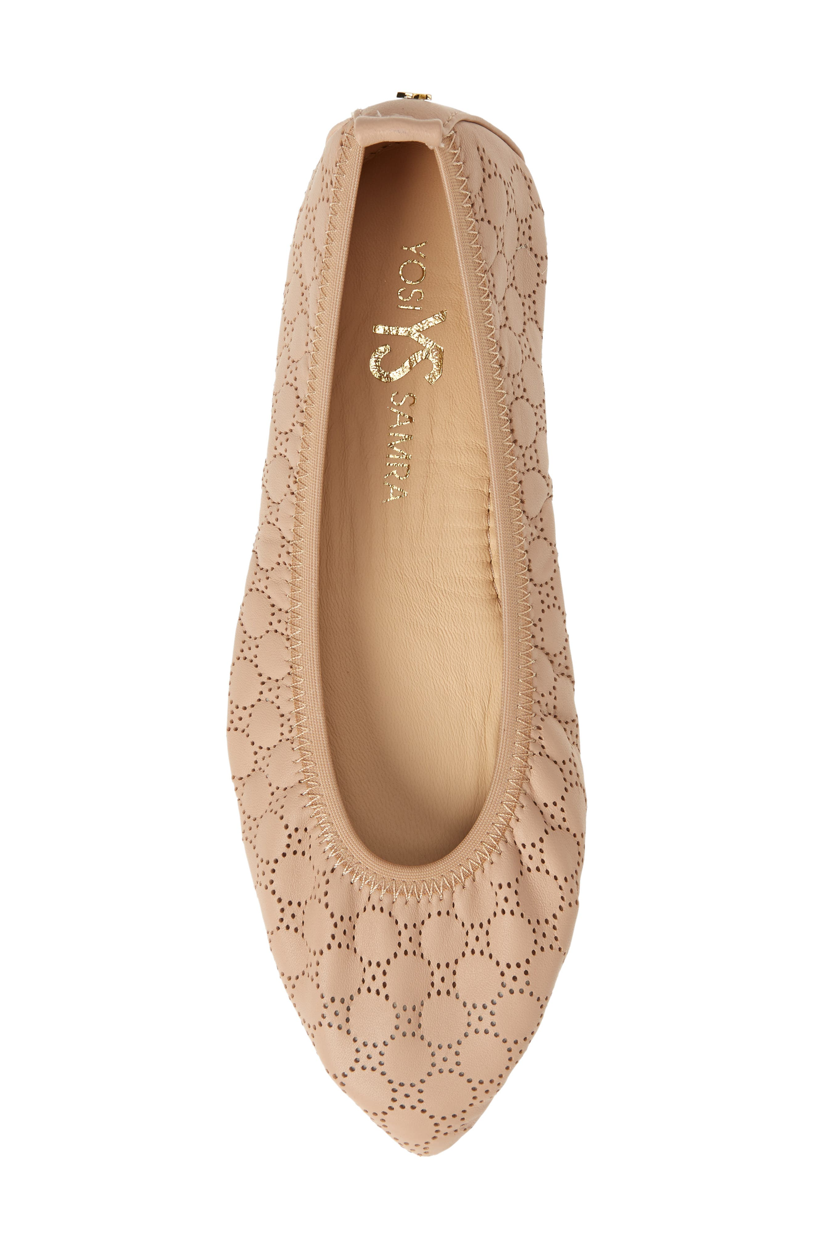 Vince Foldable Ballet Flat,                             Alternate thumbnail 5, color,                             Nude Circle Perforated Leather