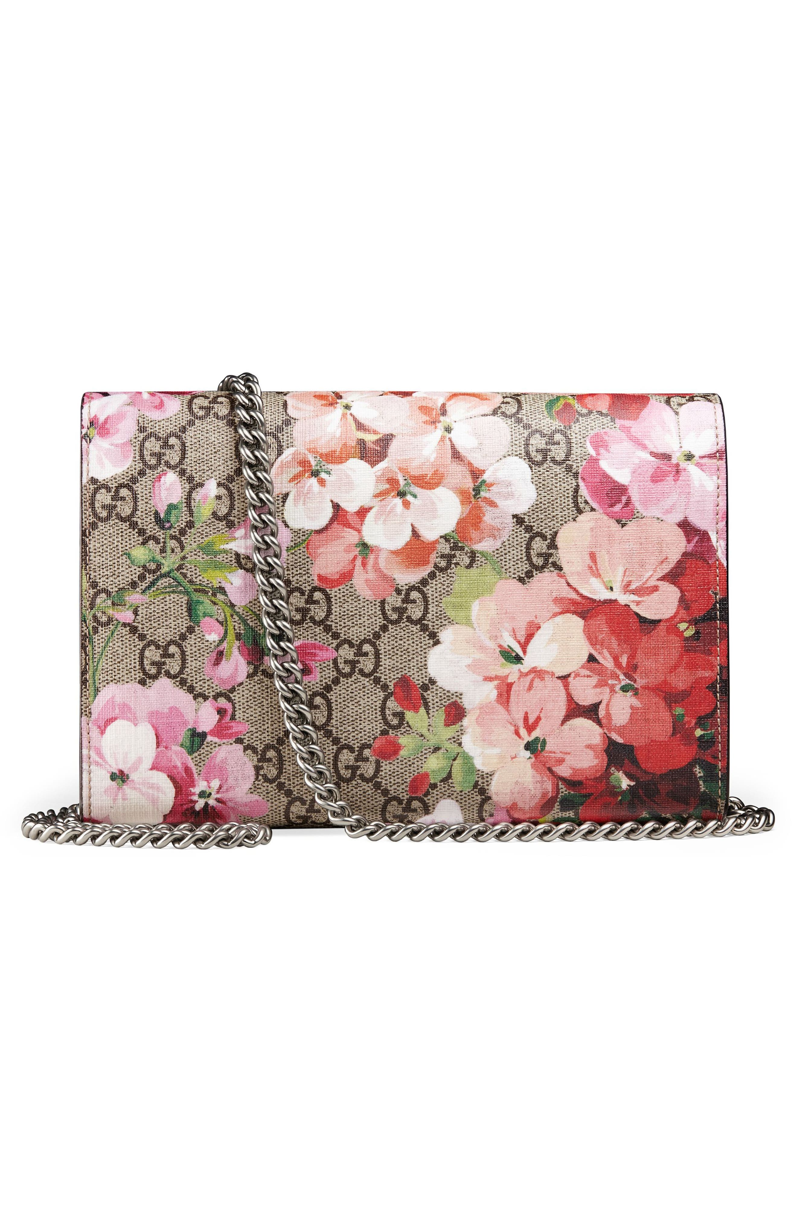 Blooms GG Supreme Canvas Wallet on a Chain,                             Alternate thumbnail 3, color,                             Beige Ebony/ Dry Rose