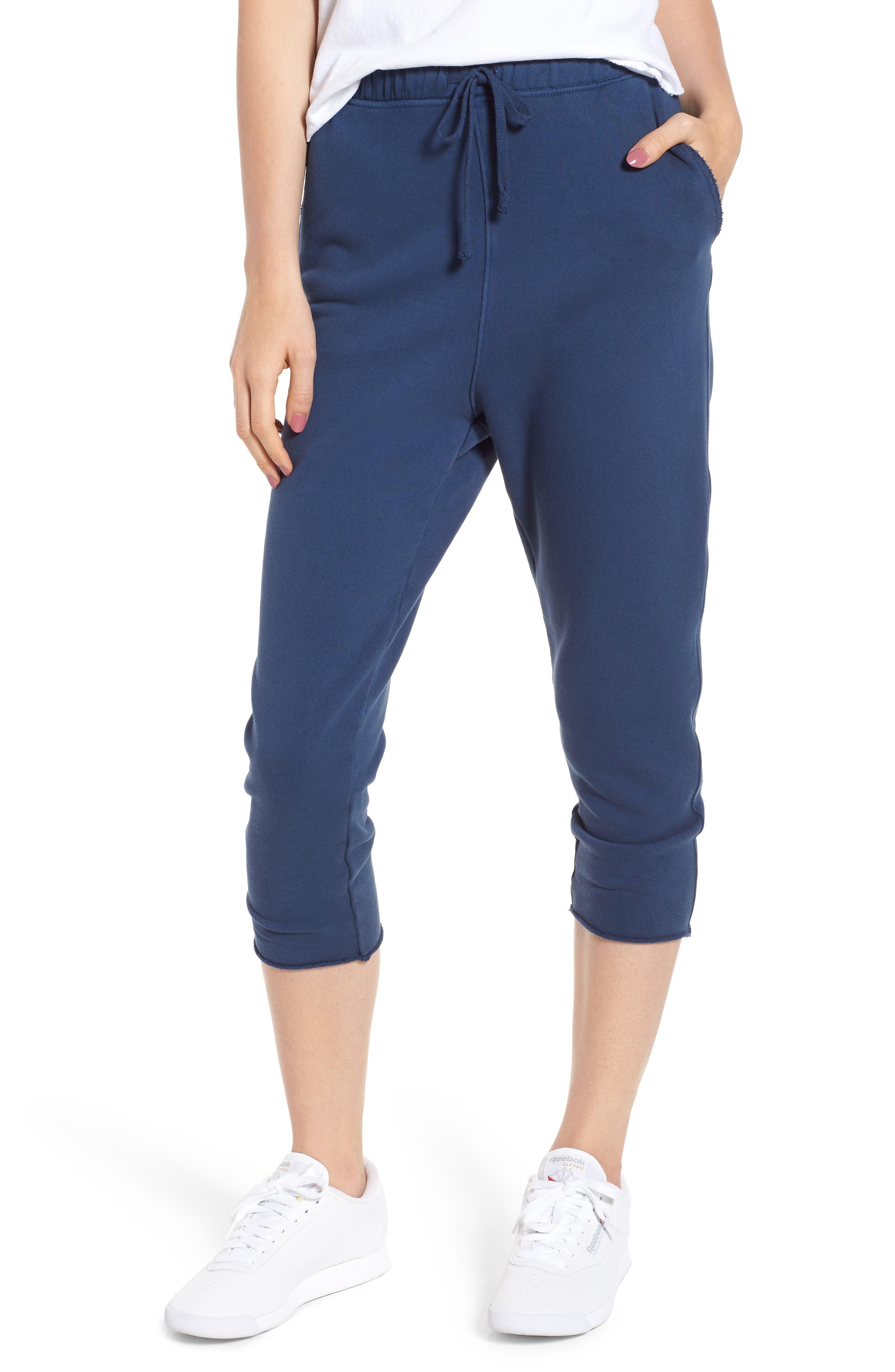 Raw Hem Crop Sweatpants,                         Main,                         color, Deep Thoughts