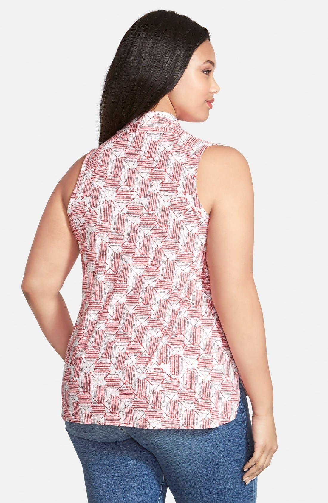 'Aryn' Sleeveless V-Neck Jersey Top,                             Alternate thumbnail 2, color,                             Batik Diamond