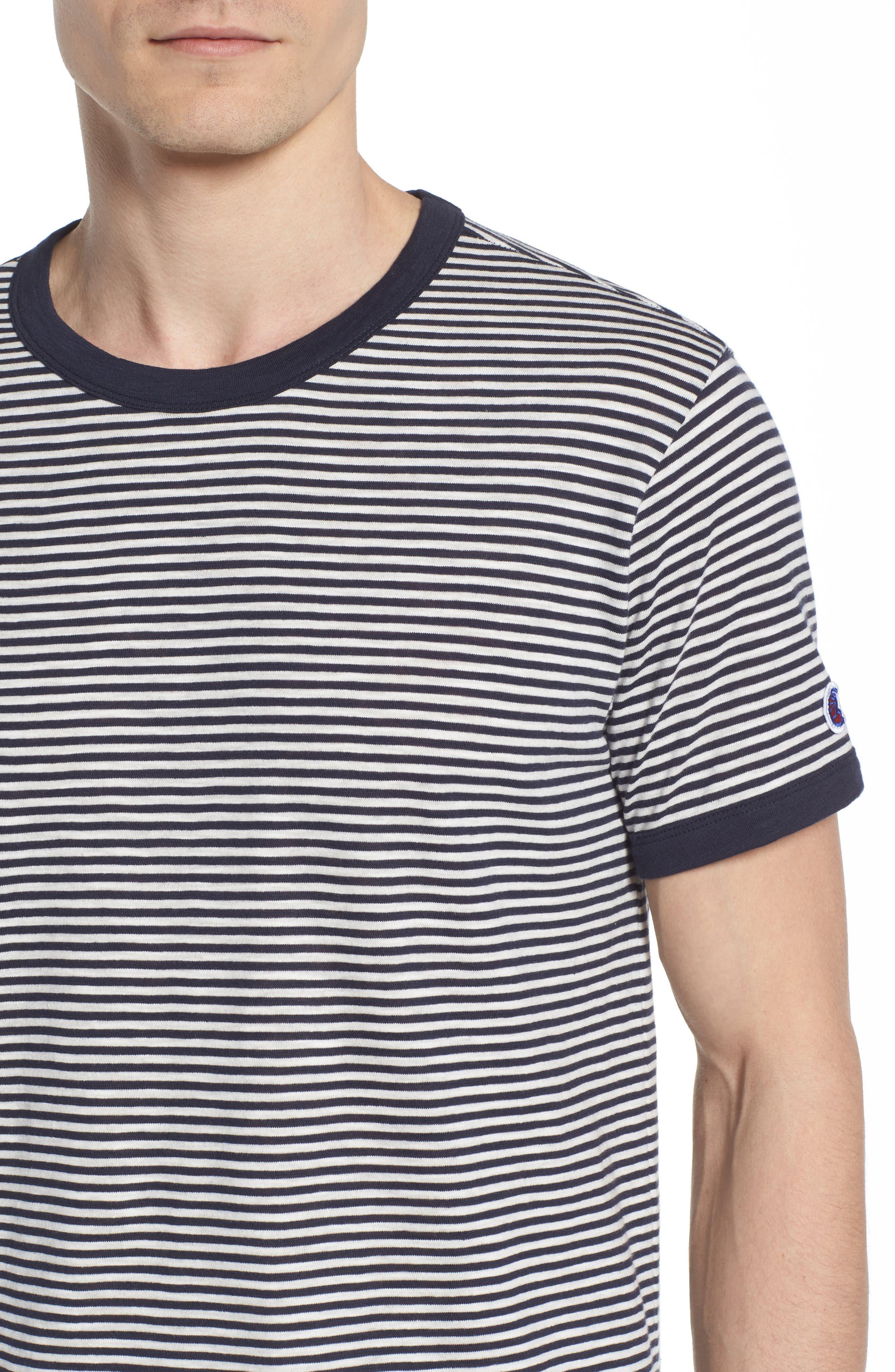 + Champion Stripe T-Shirt,                             Alternate thumbnail 4, color,                             Navy