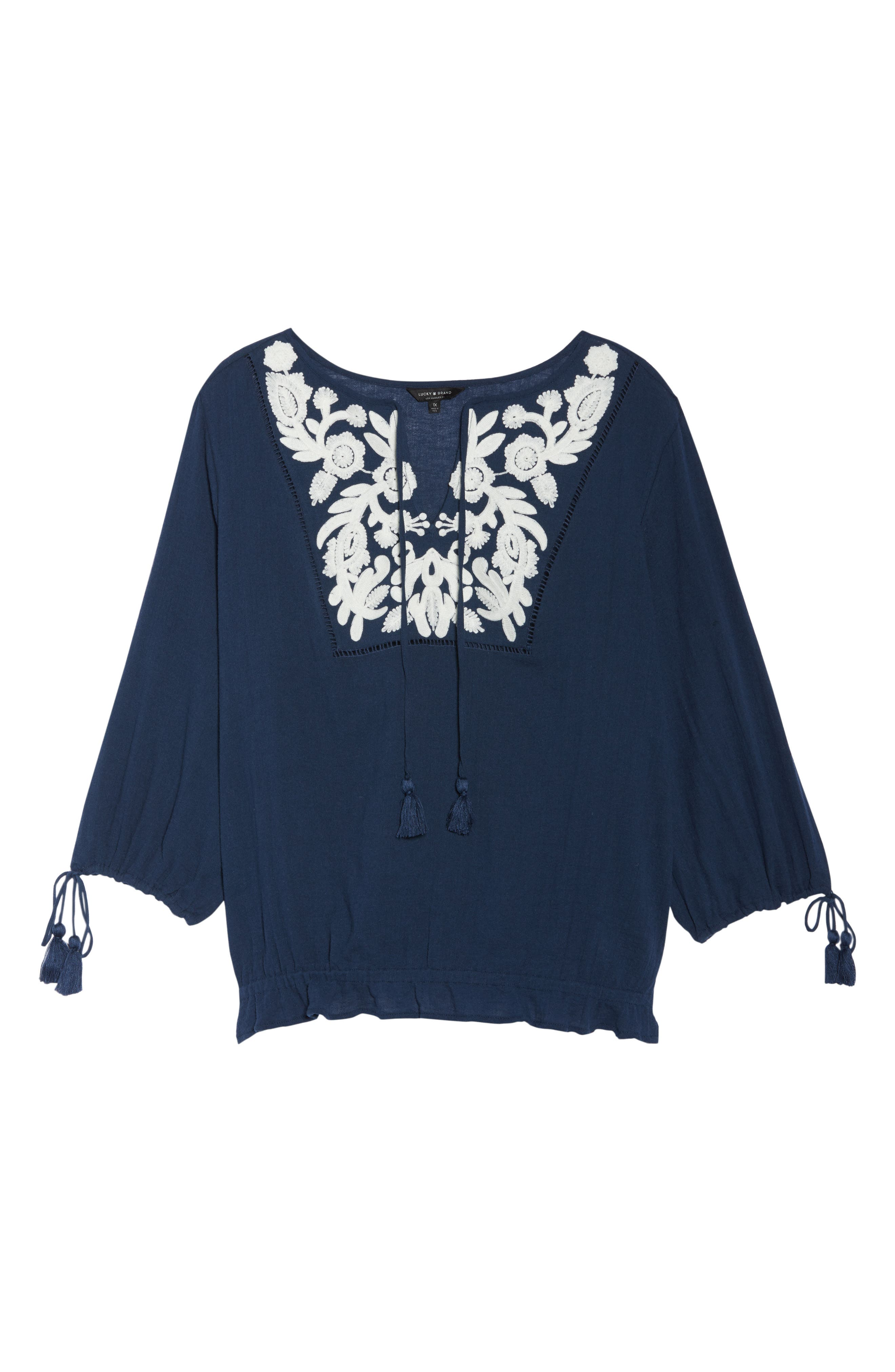 Embroidered Tassel Top,                             Alternate thumbnail 7, color,                             American Navy